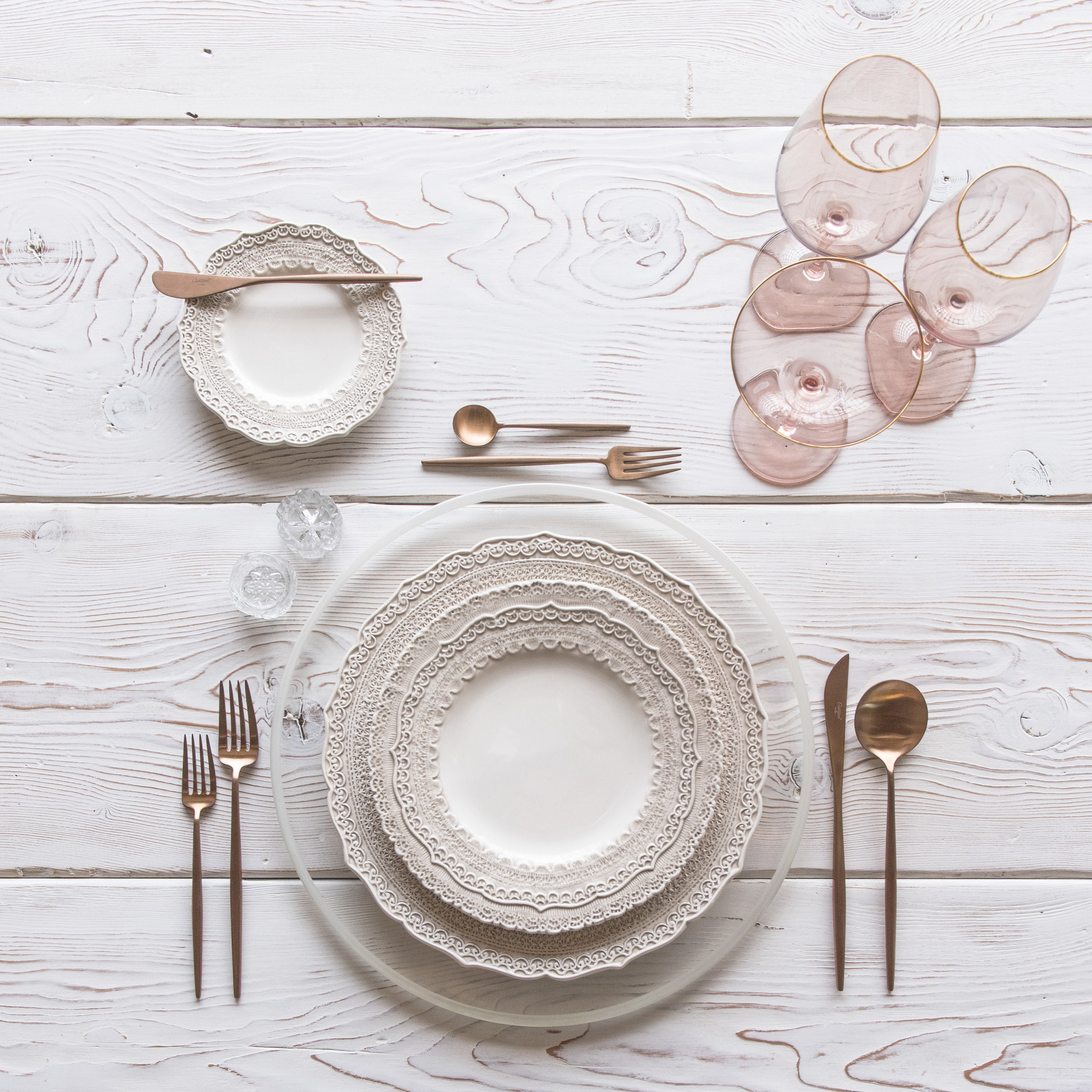 RENT: Halo Glass Chargers in Pearl + Lace Dinnerware in White + Moon Flatware in Brushed Rose Gold + Bella 24k Gold Rimmed Stemware in Blush + Antique Crystal Salt Cellars  SHOP:Halo Glass Chargers in Pearl +Moon Flatware in Brushed Rose Gold + Bella 24k Gold Rimmed Stemware in Blush