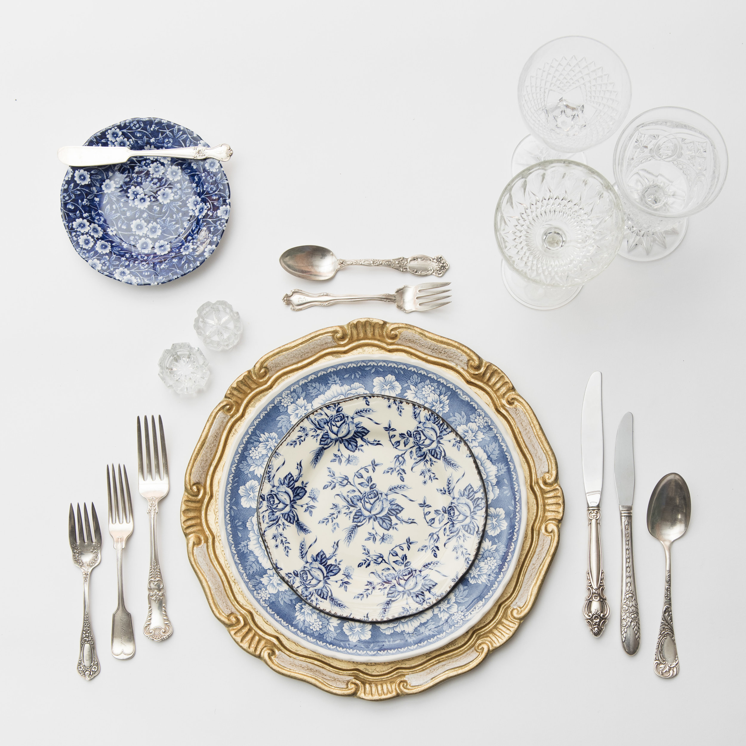 RENT: Florentine Chargers in White/Gold + Blue Garden Collection Vintage China + Antique Silver Flatware + Vintage Cut Crystal Goblets + Early American Pressed Glass Goblets + Vintage Champagne Coupes + Antique Crystal Salt Cellars  SHOP:Florentine Chargers in White/Gold