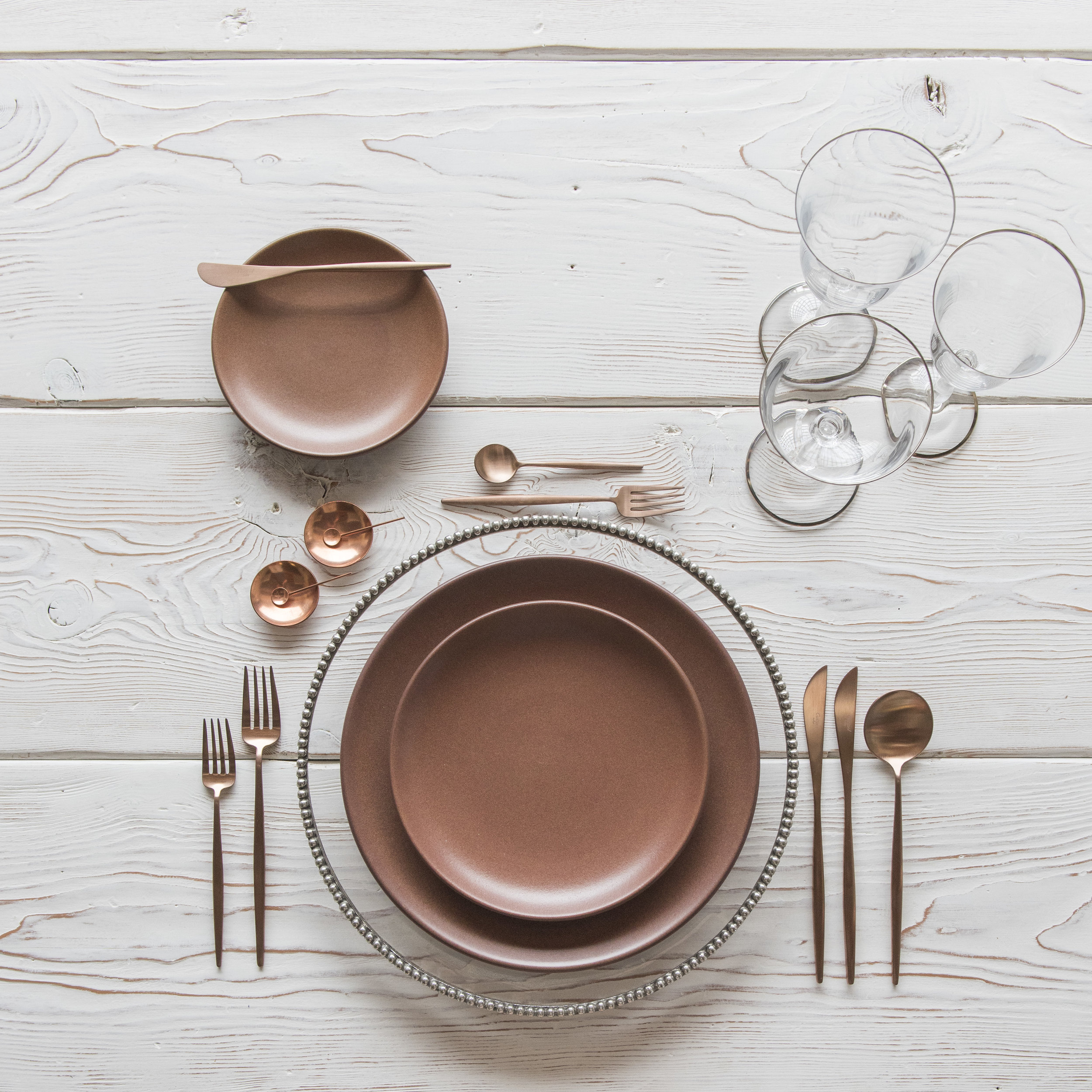 RENT: Halo Glass Chargers in Platinum + Heath Ceramics in Redwood + Moon Flatware in Brushed Rose Gold + Chloe Platinum Rimmed Stemware + Copper Salt Cellars + Tiny Copper Spoons   SHOP: Halo Glass Chargers in Platinum + Moon Flatware in Brushed Rose Gold + Chloe Platinum Rimmed Stemware + Copper Salt Cellars + Tiny Copper Spoons