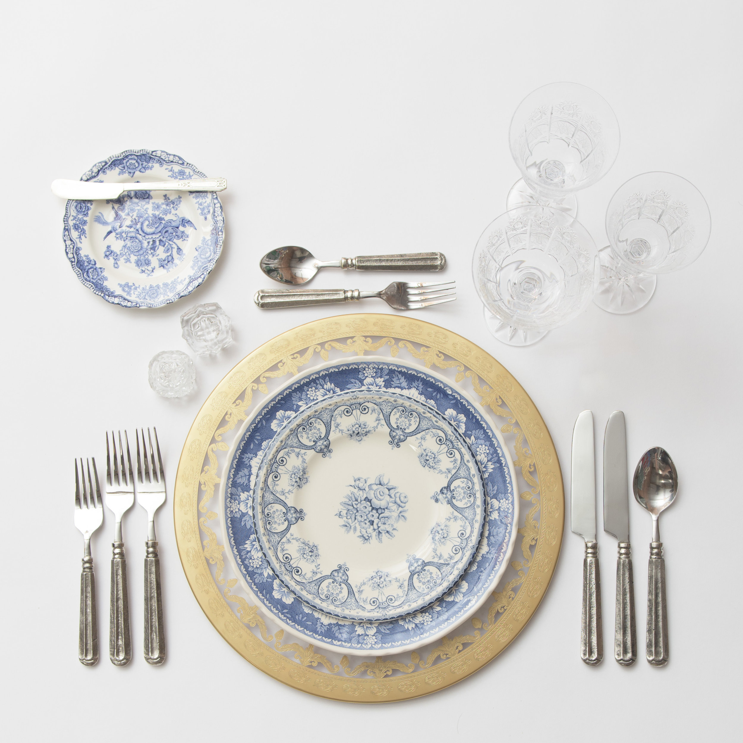 RENT: Versailles Glass Chargers in 24k Gold + Blue Garden Collection Vintage China + Tuscan Flatware in Pewter + Czech Crystal Stemware + Antique Crystal Salt Cellars