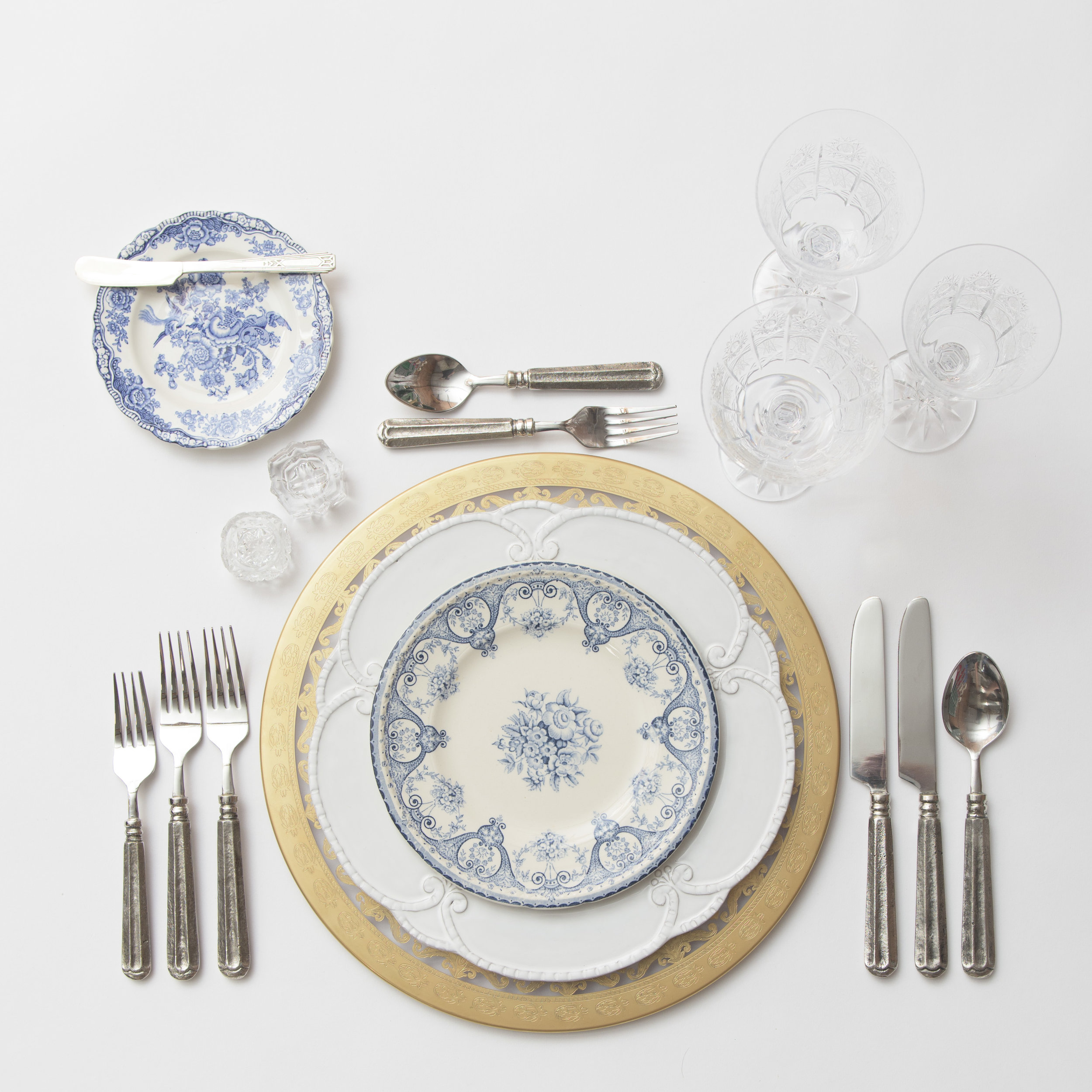 RENT: Versailles Glass Chargers in 24k Gold + Signature Collection Dinnerware +Blue Garden Collection Vintage China + Tuscan Flatware in Pewter + Czech Crystal Stemware + Antique Crystal Salt Cellars