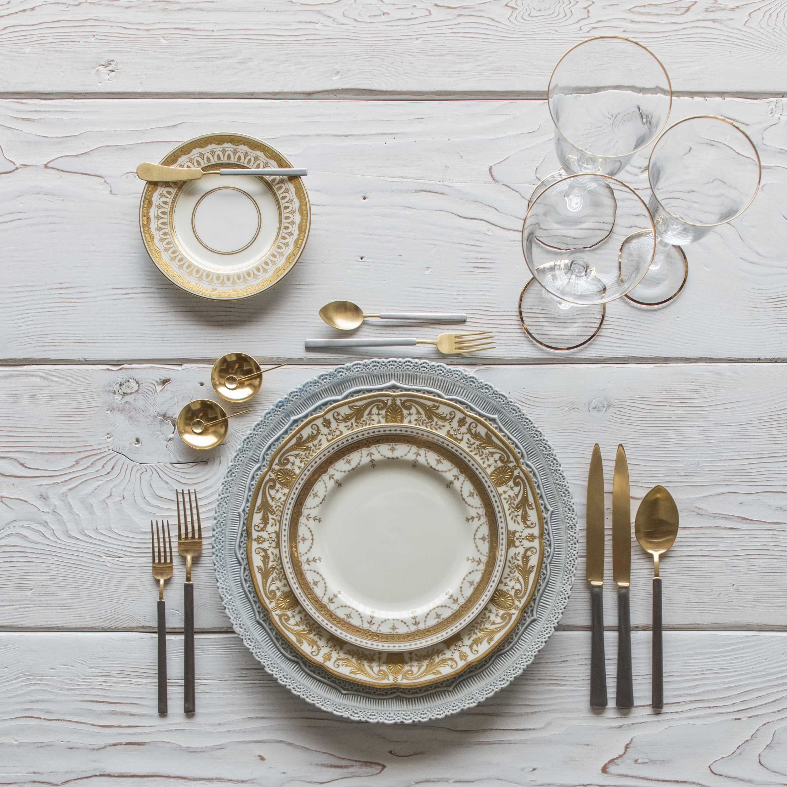 RENT: Lace Chargers in Dusty Blue + Crown Gold Collection Vintage China + Axel Flatware in Matte 24k Gold/Silver + Chloe 24k Gold Rimmed Stemware + 14k Gold Salt Cellars + Tiny Gold Spoons  SHOP:Chloe 24k Gold Rimmed Stemware + 14k Gold Salt Cellars + Tiny Gold Spoons
