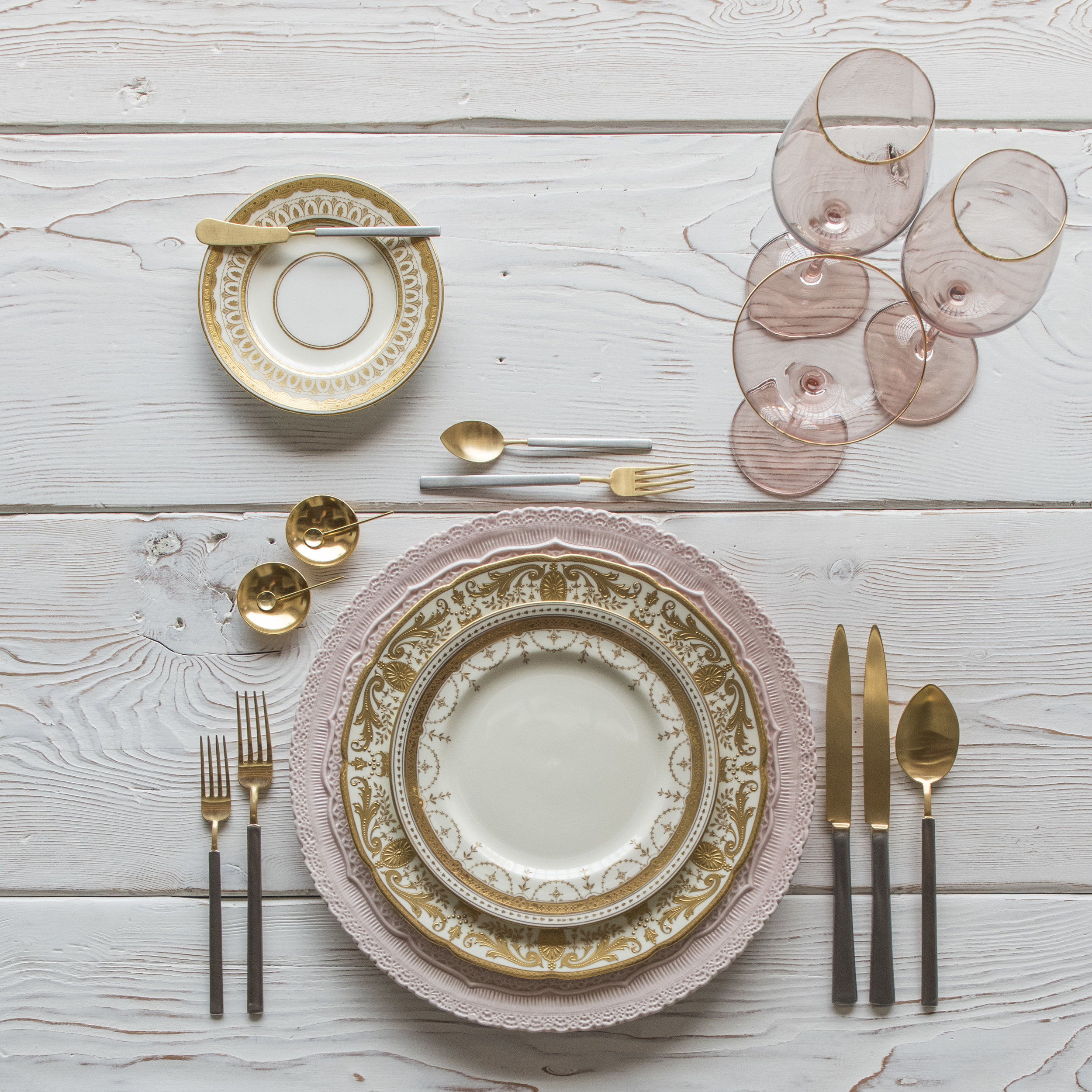 RENT: Lace Chargers in Blush + Crown Gold Collection Vintage China + Axel Flatware in Matte 24k Gold/Silver + Bella 24k Gold Rimmed Stemware in Blush + 14k Gold Salt Cellars + Tiny Gold Spoons  SHOP:Bella 24k Gold Rimmed Stemware in Blush + 14k Gold Salt Cellars + Tiny Gold Spoons
