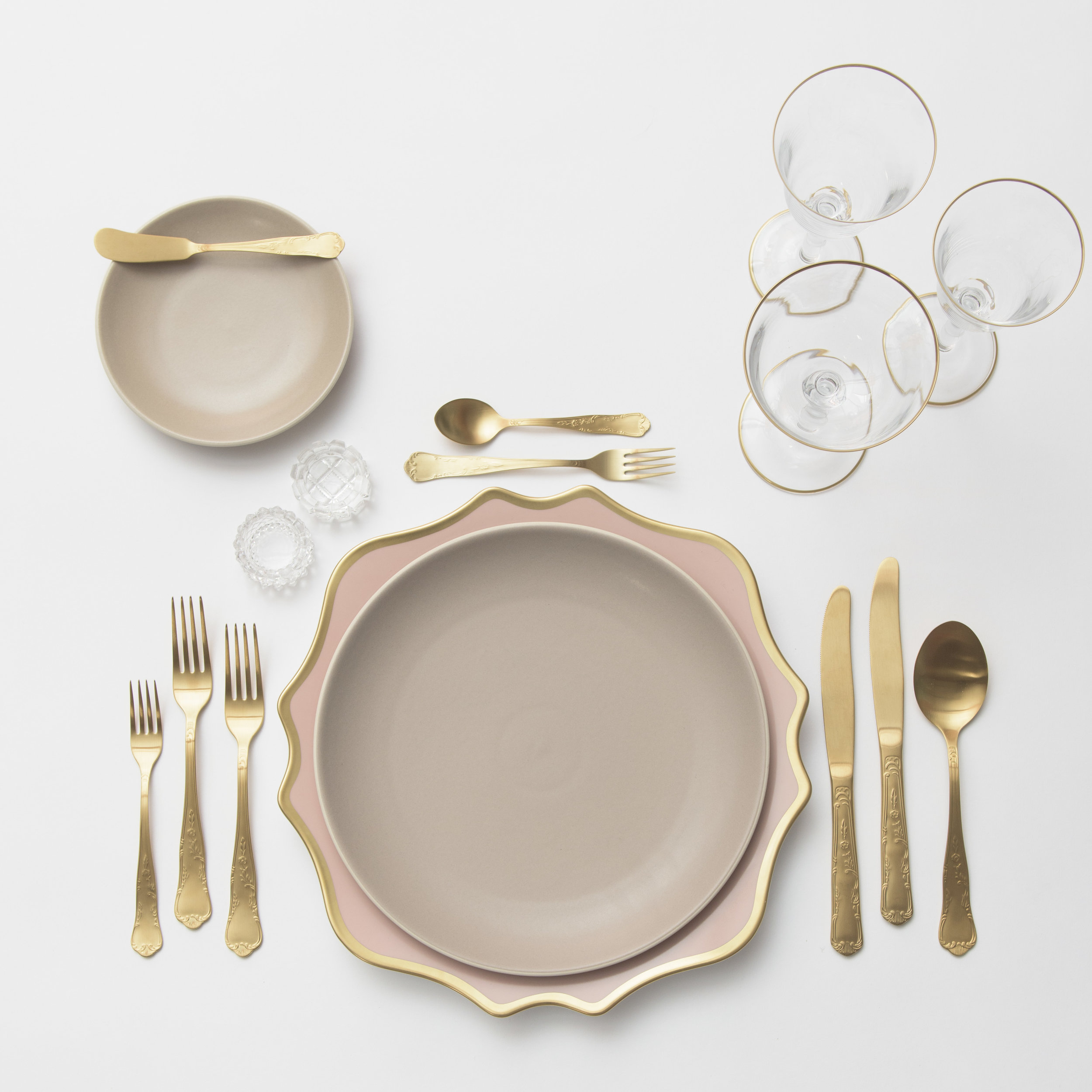 RENT: Anna Weatherley Chargers in Desert Rose/Gold + Heath Ceramics in French Grey + Chateau Flatware in Matte Gold + Chloe 24k Gold Rimmed Stemware + Antique Crystal Salt Cellars   SHOP: Chloe 24k Gold Rimmed Stemware