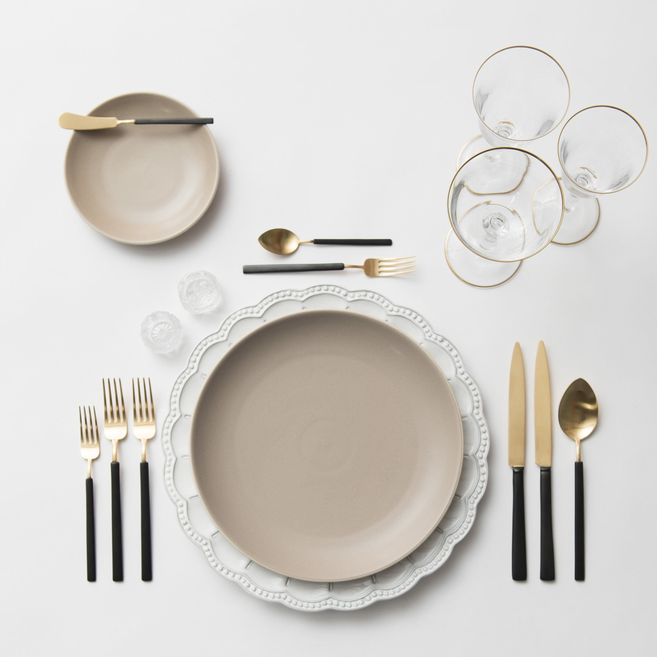 RENT: Signature Collection Chargers + Heath Ceramics in French Grey + Axel Flatware in Matte 24k Gold/Black + Chloe 24k Gold Rimmed Stemware + Antique Crystal Salt Cellars  SHOP: Chloe 24k Gold Rimmed Stemware