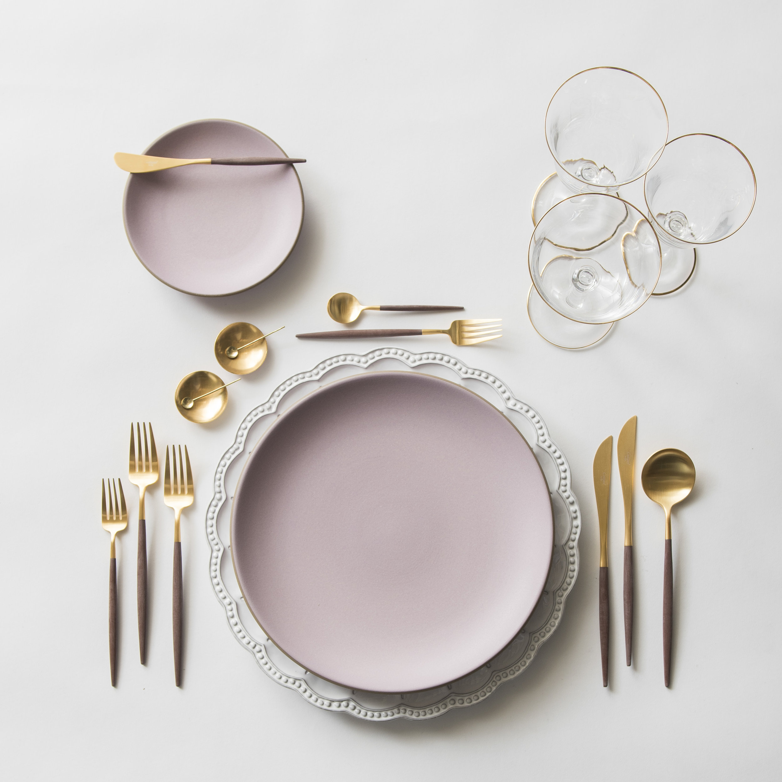 RENT: Signature Collection Chargers + Custom Heath Ceramics in Wildflower + Goa Flatware in Brushed 24k Gold/Wood + Chloe 24k Gold Rimmed Stemware + 14k Gold Salt Cellars + Tiny Gold Spoons  SHOP: Goa Flatware in Brushed 24k Gold/Wood + Chloe 24k Gold Rimmed Stemware + 14k Gold Salt Cellars + Tiny Gold Spoons