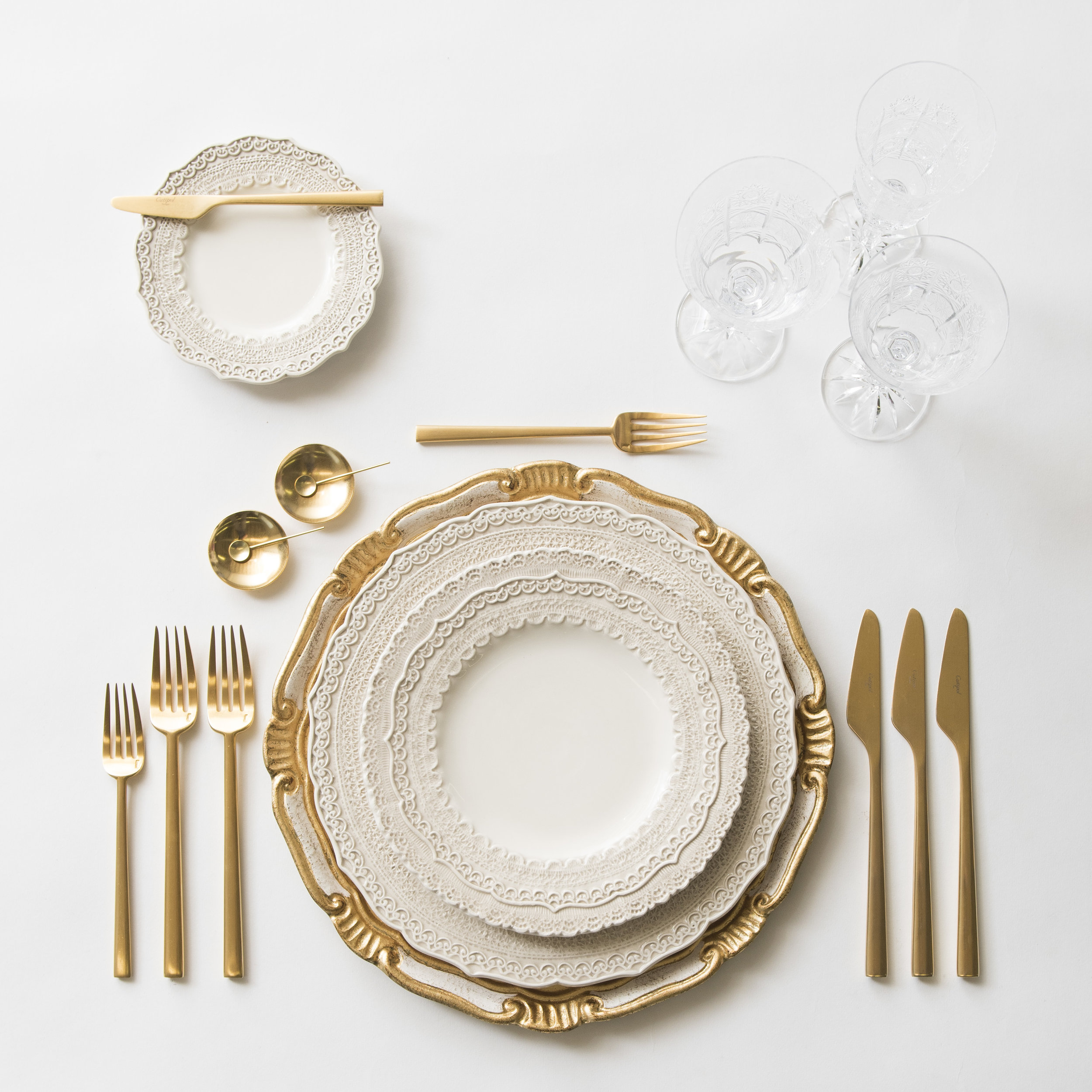 RENT: Florentine Chargers in White/Gold + Lace Dinnerware in White + Rondo Flatware in Brushed 24k Gold + Czech Crystal Stemware + 14k Gold Salt Cellars + Tiny Gold Spoons  SHOP:Florentine Chargers in White/Gold + Rondo Flatware in Brushed 24k Gold + 14k Gold Salt Cellars + Tiny Gold Spoons