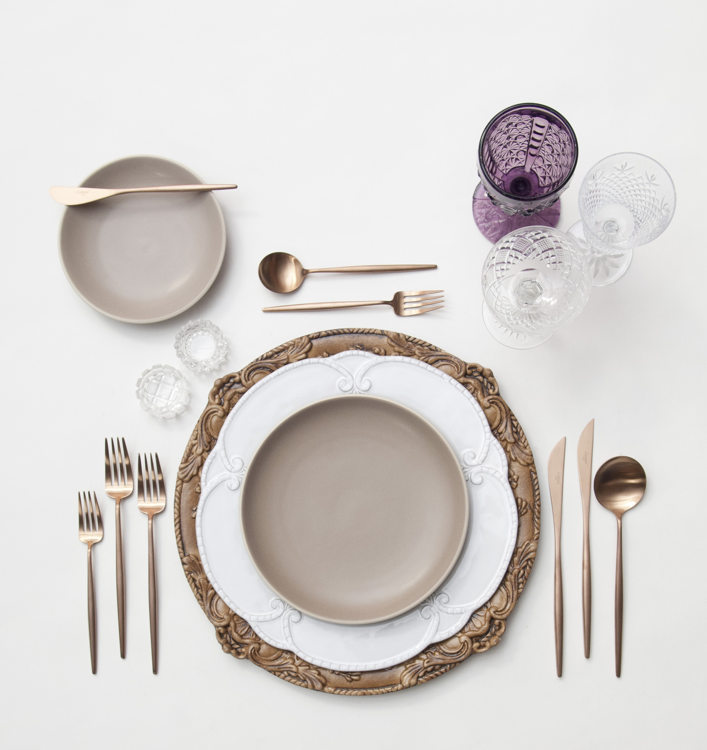 RENT: Verona Chargers in Walnut + Signature Collection Dinnerware + Heath Ceramics in French Grey + Moon Flatware in Brushed Rose Gold + Purple Vintage Goblets + Vintage Cut Crystal Goblets + Vintage Champagne Coupes + Antique Crystal Salt Cellars  SHOP:Verona Chargers in Walnut + Moon Flatware in Brushed Rose Gold