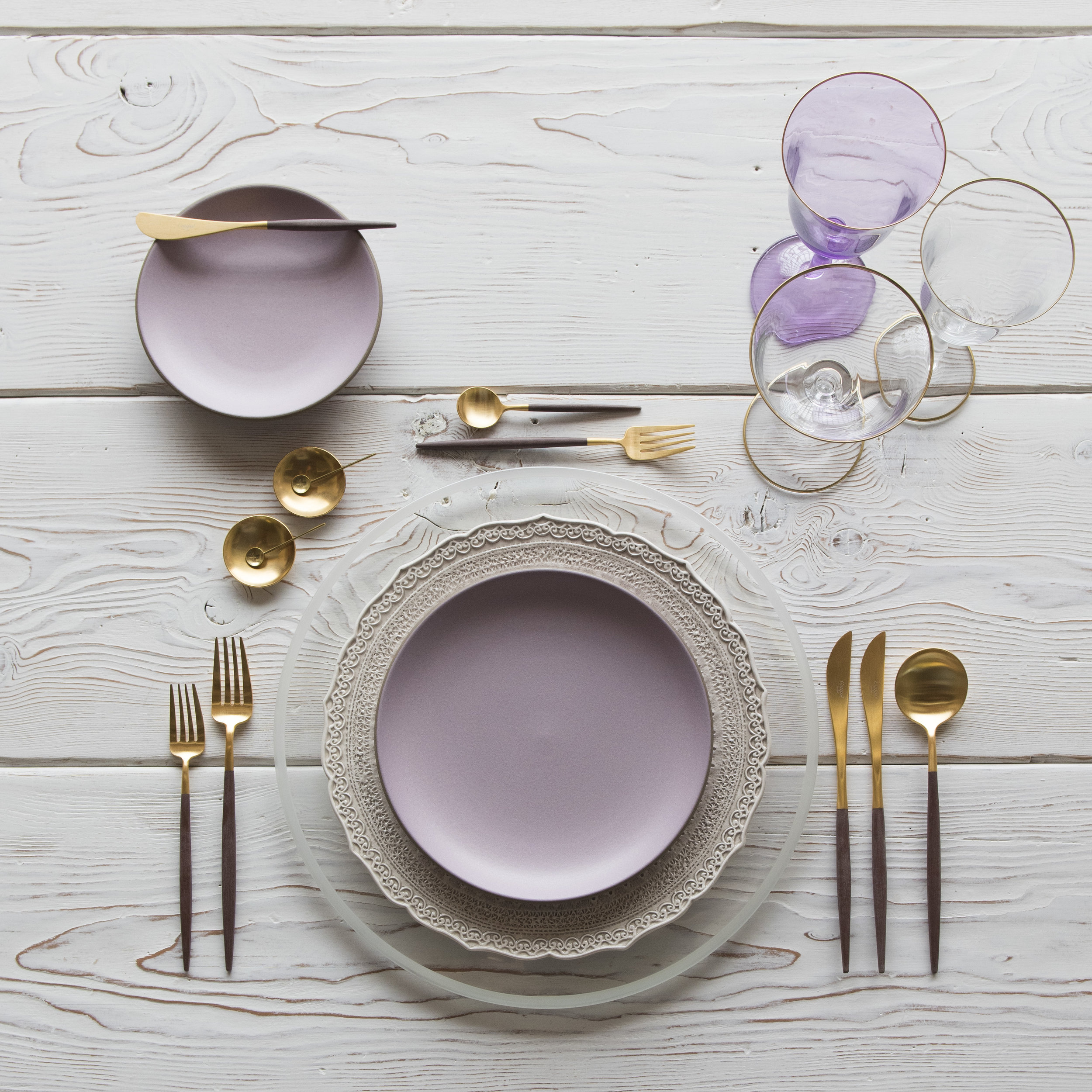 RENT: Halo Glass Chargers in Pearl + Lace Dinnerware in White + Custom Heath Ceramics in Wildflower + Goa Flatware in Brushed 24k Gold/Wood + Chloe 24k Gold Rimmed Stemware + Chloe 24k Gold Rimmed Goblet in Lilac + 14k Gold Salt Cellars + Tiny Gold Spoons  SHOP:Halo Glass Chargers in Pearl +Goa Flatware in Brushed 24k Gold/Wood + Chloe 24k Gold Rimmed Stemware + 14k Gold Salt Cellars + Tiny Gold Spoons