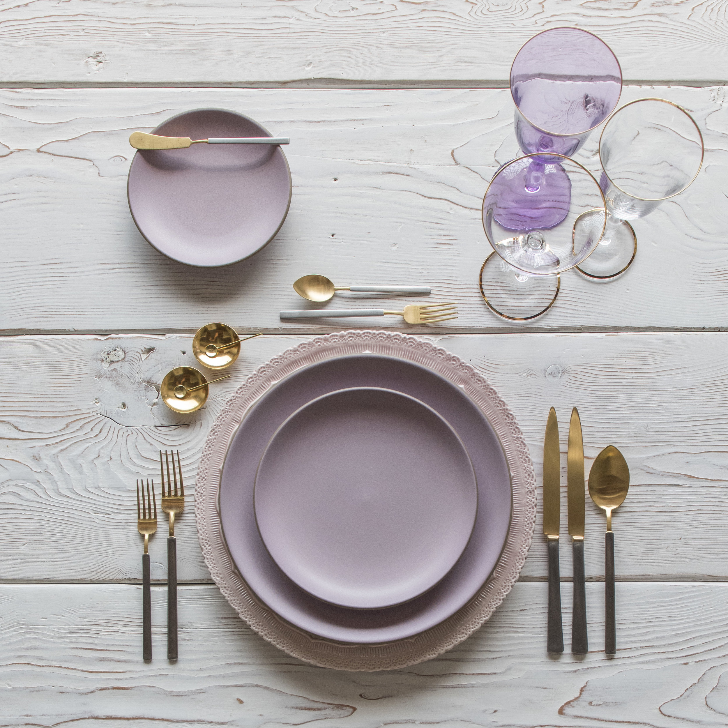 RENT: Lace Chargers in Blush + Custom Heath Ceramics in Wildflower + Axel Flatware in Matte 24k Gold/Silver + Chloe 24k Gold Rimmed Stemware + Chloe 24k Gold Rimmed Goblet in Lilac + 14k Gold Salt Cellars + Tiny Gold Spoons  SHOP:Chloe 24k Gold Rimmed Stemware + 14k Gold Salt Cellars + Tiny Gold Spoons