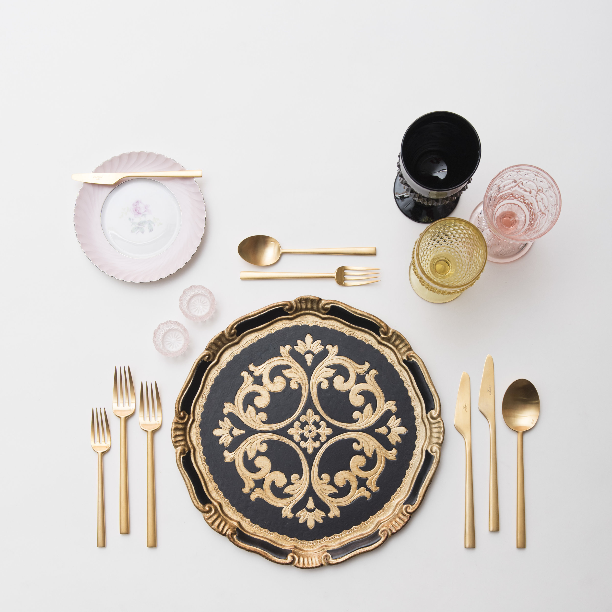 RENT: Florentine Chargers in Black/Gold + Pink Botanicals Vintage China + Rondo Flatware in Brushed 24k Gold + Black/Pink/Yellow Vintage Goblets + Pink Crystal Salt Cellars  SHOP: Florentine Chargers in Black/Gold + Rondo Flatware in Brushed 24k Gold