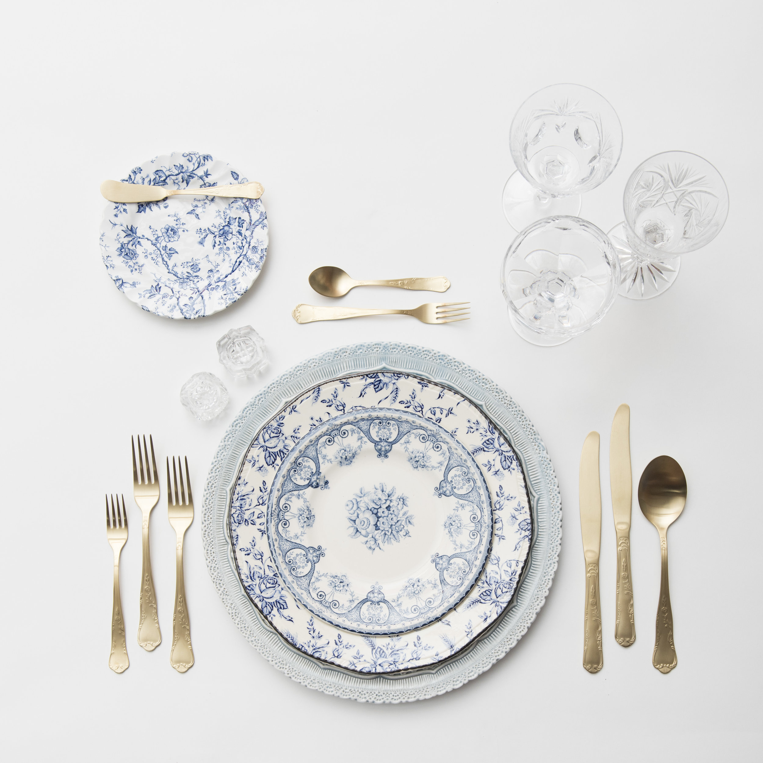 RENT: Lace Chargers in Dusty Blue + Blue Garden Collection Vintage China + Chateau Flatware in Matte Gold + Vintage Cut Crystal Goblets + Vintage Champagne Coupes + Antique Crystal Salt Cellars