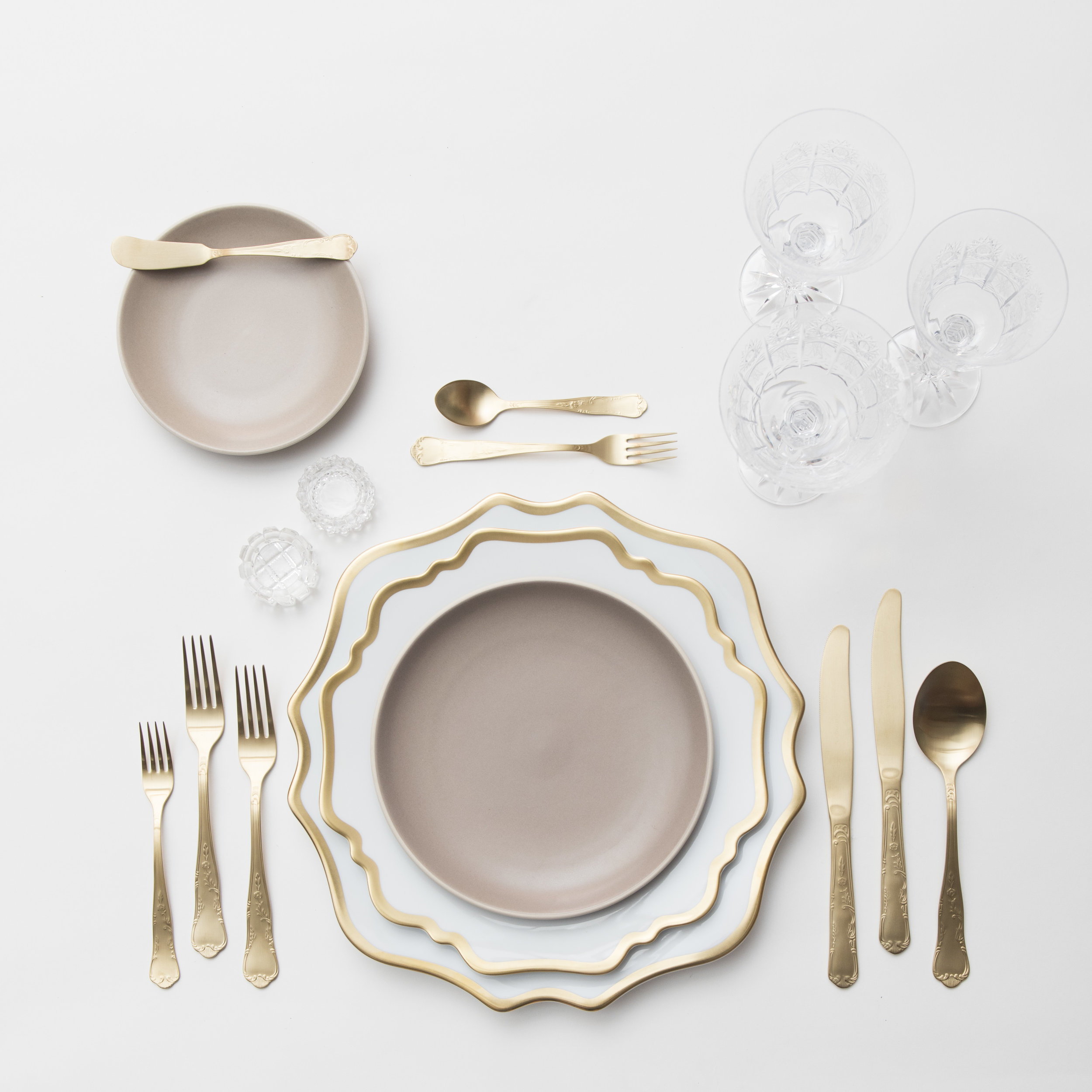 RENT: Anna Weatherley Chargers/Dinnerware in White/Gold + Heath Ceramics in French Grey + Chateau Flatware in Matte Gold + Czech Crystal Stemware + Antique Crystal Salt Cellars  SHOP: Anna Weatherley Chargers/Dinnerware in White/Gold