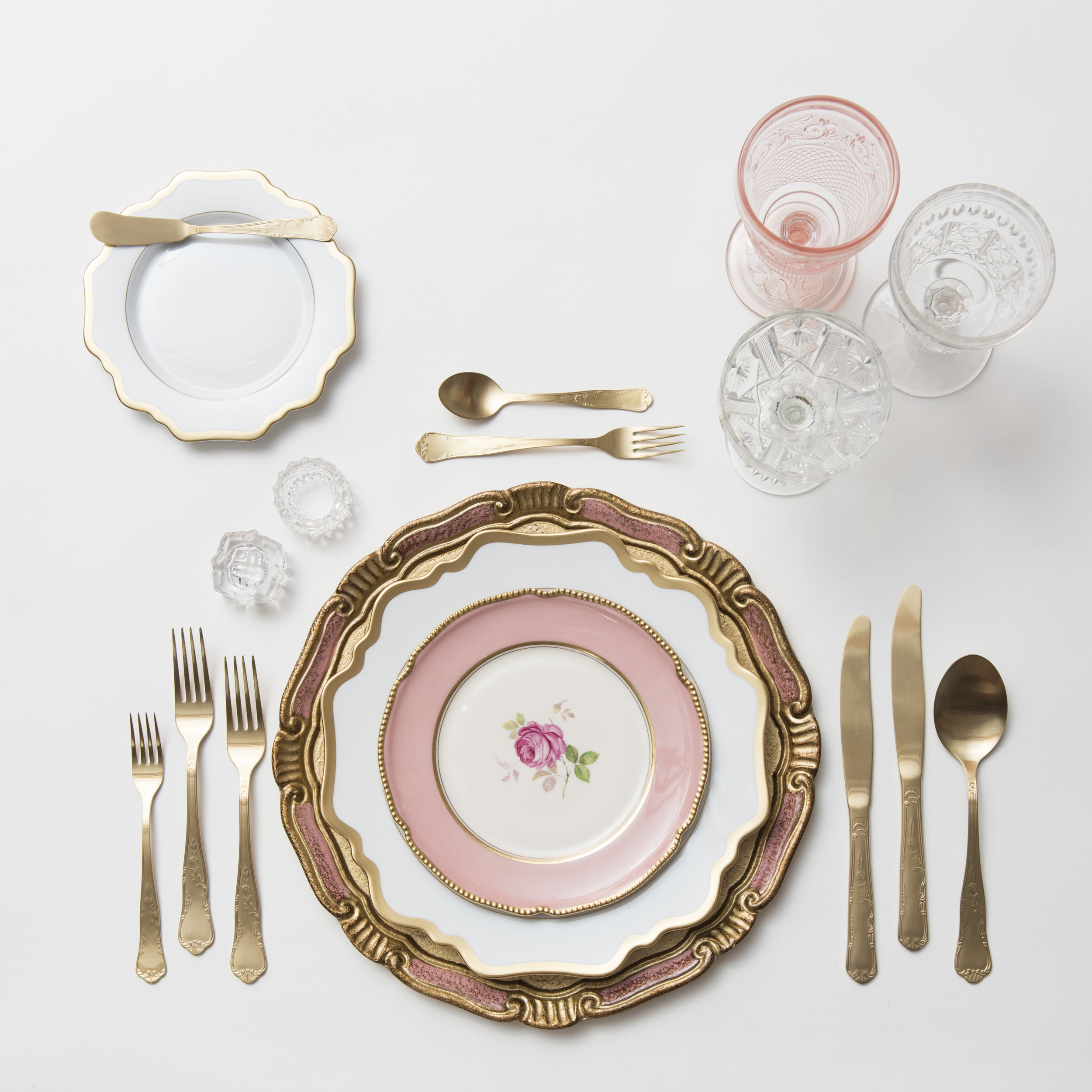 RENT: Florentine Chargers in Rose/Gold + Anna Weatherley Dinnerware in White/Gold + Pink Botanicals Vintage China + Chateau Flatware in Matte Gold + Pink Vintage Goblets + Early American Pressed Glass Goblets + Vintage Champagne Coupes + Antique Crystal Salt Cellars  SHOP: Anna Weatherley Dinnerware in White/Gold