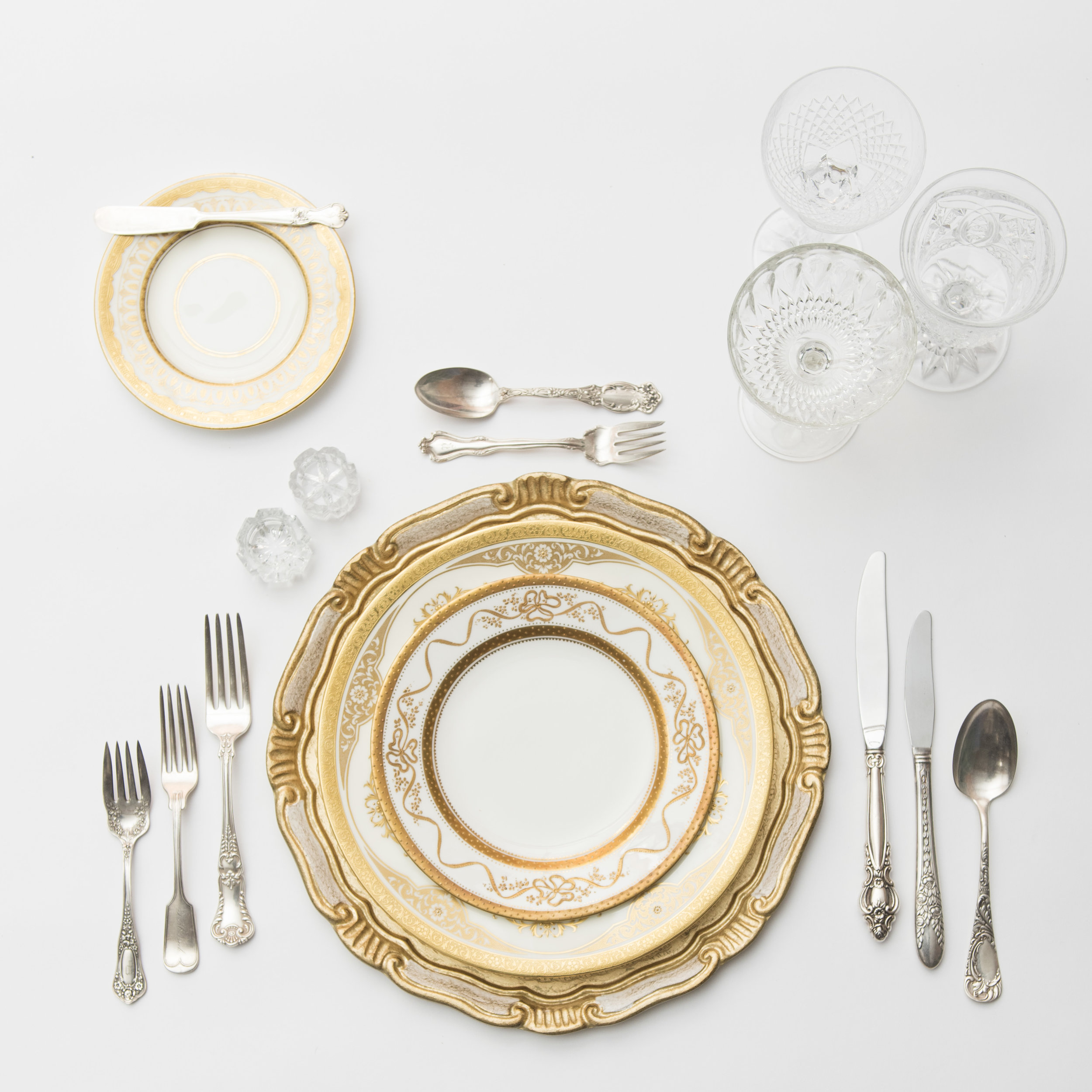 RENT: Florentine Chargers in White/Gold + Crown Gold Collection Vintage China + Antique Silver Flatware + Vintage Cut Crystal Goblets + Early American Pressed Glass Goblets + Vintage Champagne Coupes + Antique Crystal Salt Cellars   SHOP: Florentine Chargers in White/Gold