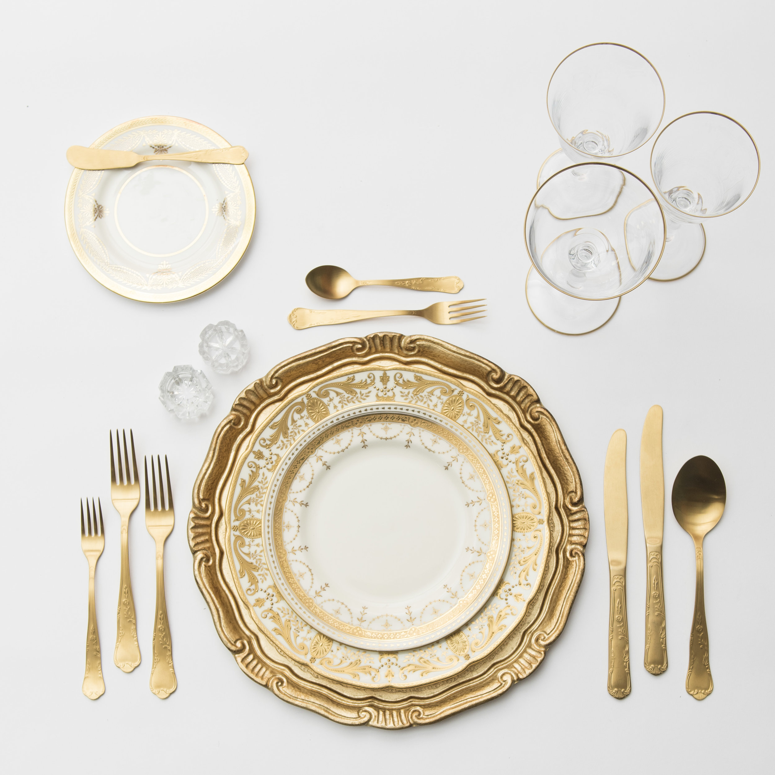 RENT: Florentine Chargers in Gold + Crown Gold Collection Vintage China + Chateau Flatware in Matte Gold + Chloe 24k Gold Rimmed Stemware + Antique Crystal Salt Cellars   SHOP: Florentine Chargers in Gold + Chloe 24k Gold Rimmed Stemware
