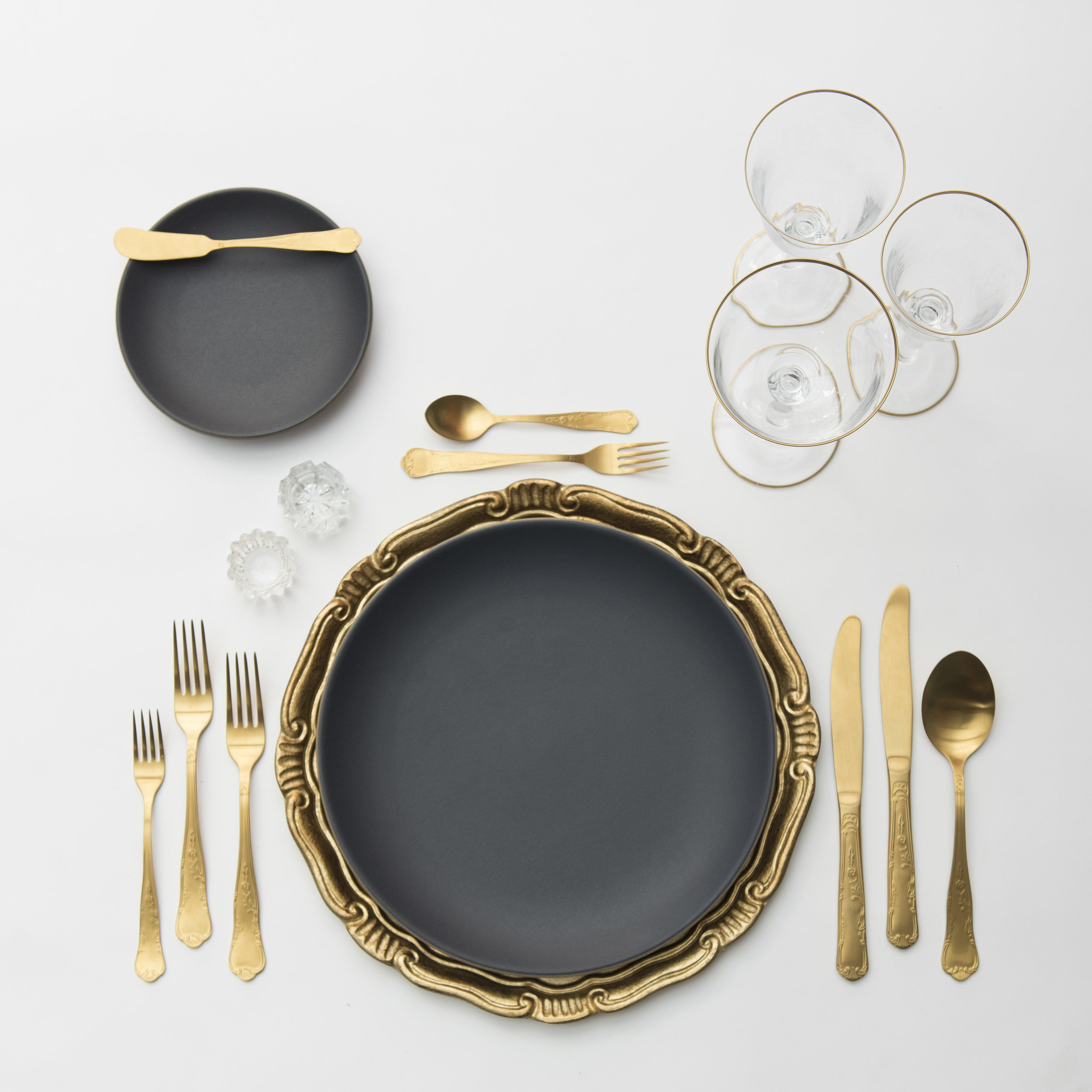 RENT: Florentine Chargers in Gold + Heath Ceramics in Indigo/Slate + Chateau Flatware in Matte Gold + Chloe 24k Gold Rimmed Stemware + Antique Crystal Salt Cellars   SHOP: Florentine Chargers in Gold + Chloe 24k Gold Rimmed Stemware