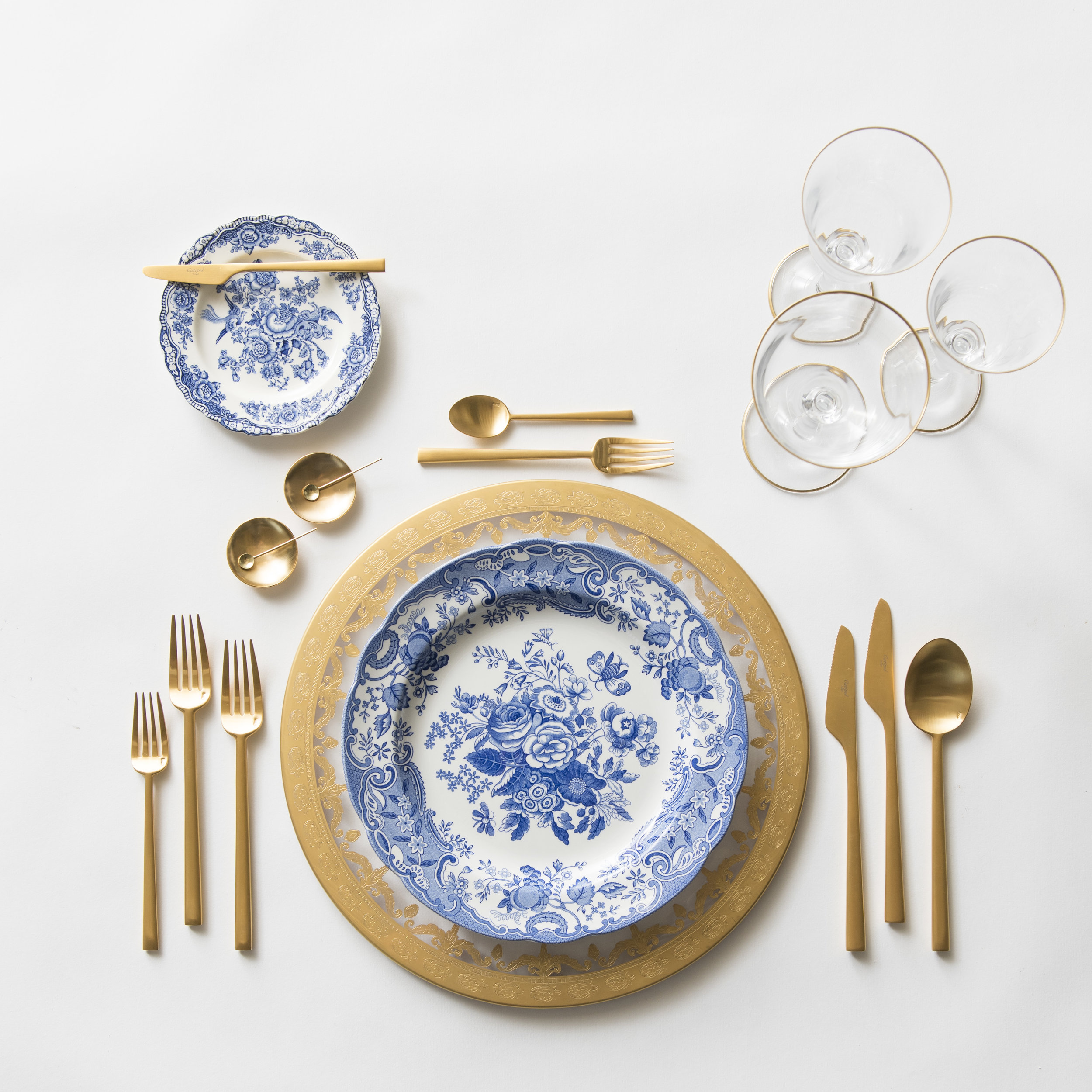 RENT: Versailles Glass Chargers in 24k Gold + Blue Garden Collection Vintage China + Rondo Flatware in Brushed 24k Gold + Chloe 24k Gold Rimmed Stemware + 14k Gold Salt Cellars + Tiny Gold Spoons   SHOP: Rondo Flatware in Brushed 24k Gold + Chloe 24k Gold Rimmed Stemware + 14k Gold Salt Cellars + Tiny Gold Spoons