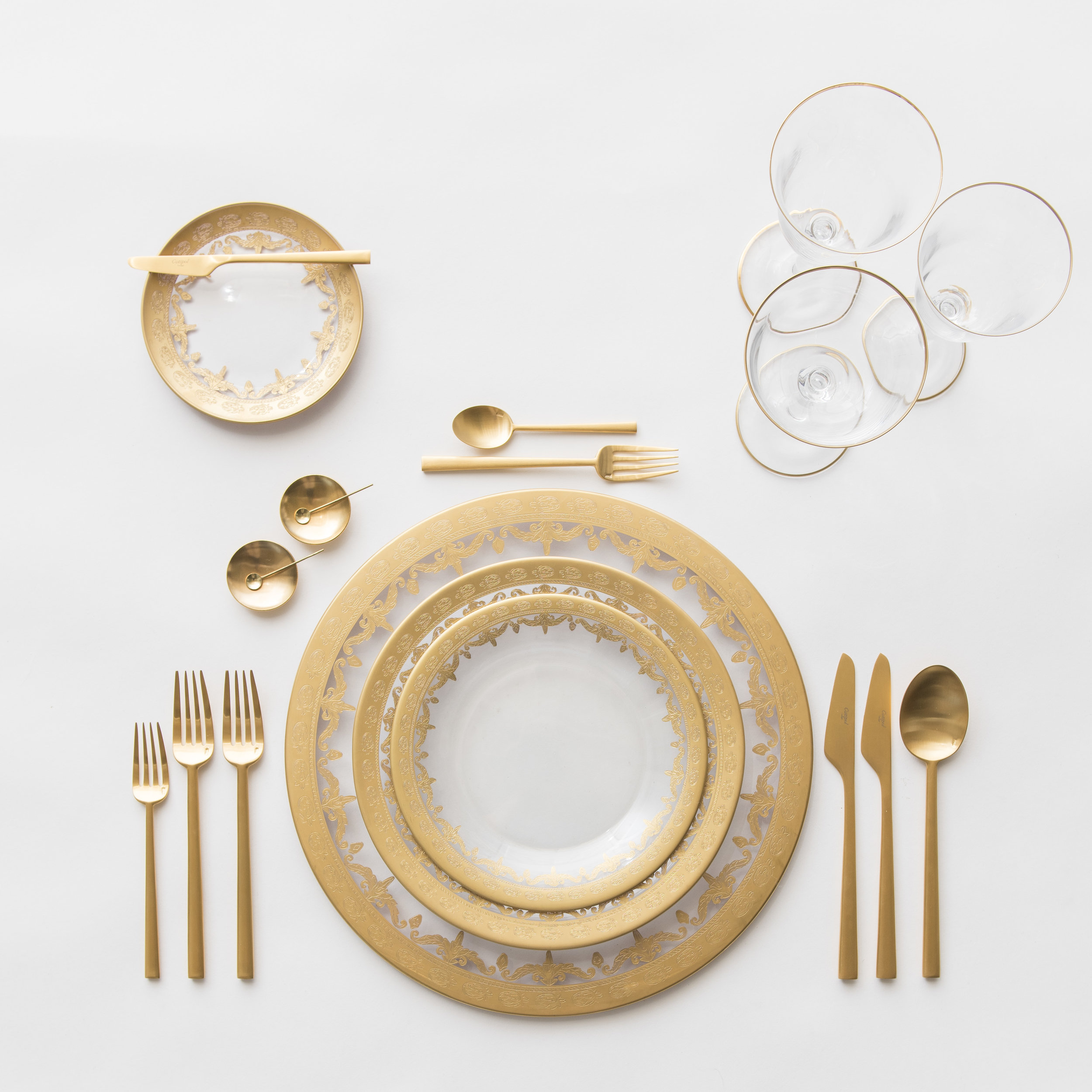RENT: Versailles Glass Chargers/Dinnerware in 24k Gold + Rondo Flatware in Brushed 24k Gold + Chloe 24k Gold Rimmed Stemware + 14k Gold Salt Cellars + Tiny Gold Spoons   SHOP: Rondo Flatware in Brushed 24k Gold + Chloe 24k Gold Rimmed Stemware + 14k Gold Salt Cellars + Tiny Gold Spoons
