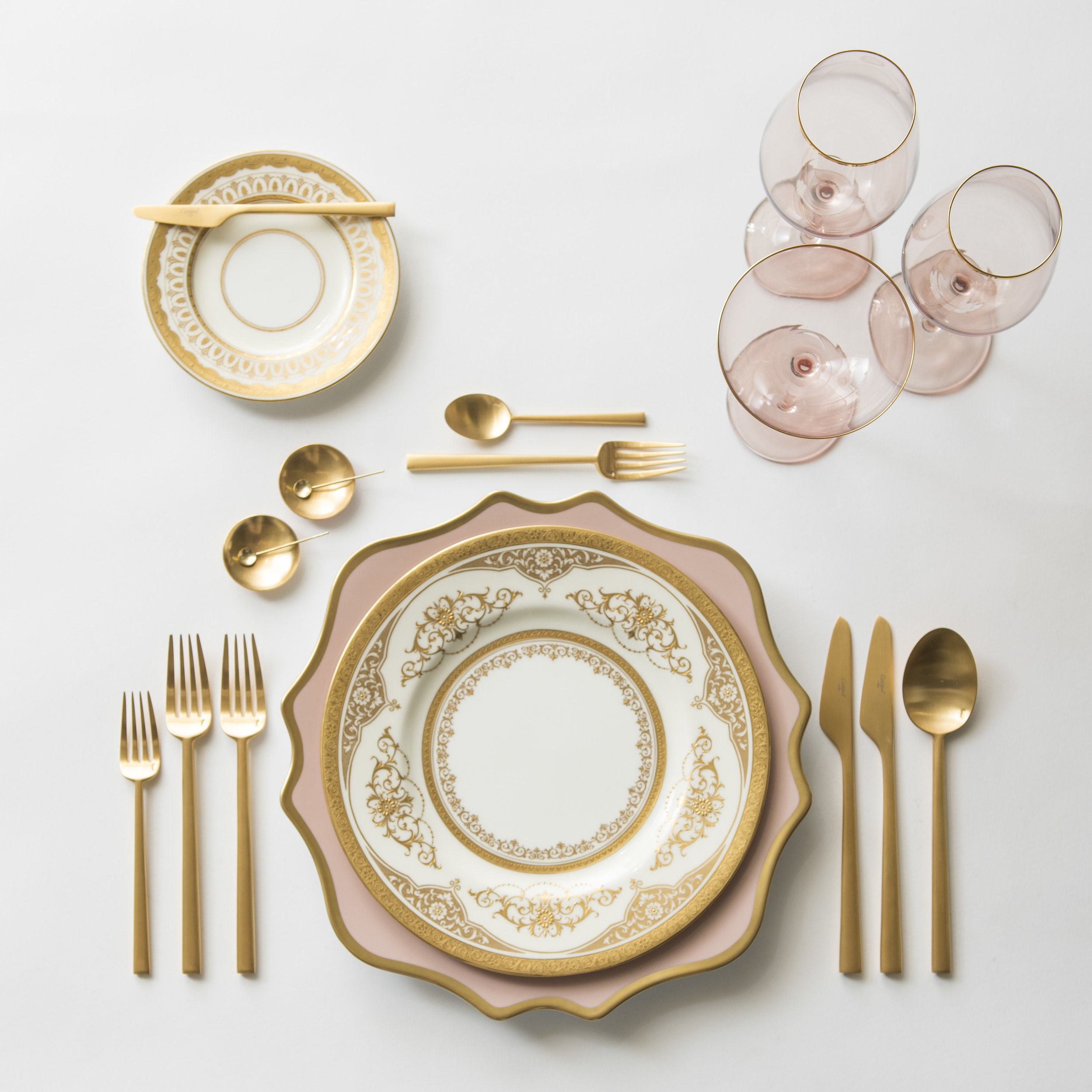 RENT: Anna Weatherley Chargers in Desert Rose/Gold + Crown Gold Collection Vintage China + Rondo Flatware in Brushed 24k Gold + Bella 24k Gold Rimmed Stemware in Blush + 14k Gold Salt Cellars + Tiny Gold Spoons  SHOP: Rondo Flatware in Brushed 24k Gold + Bella 24k Gold Rimmed Stemware in Blush + 14k Gold Salt Cellars + Tiny Gold Spoons