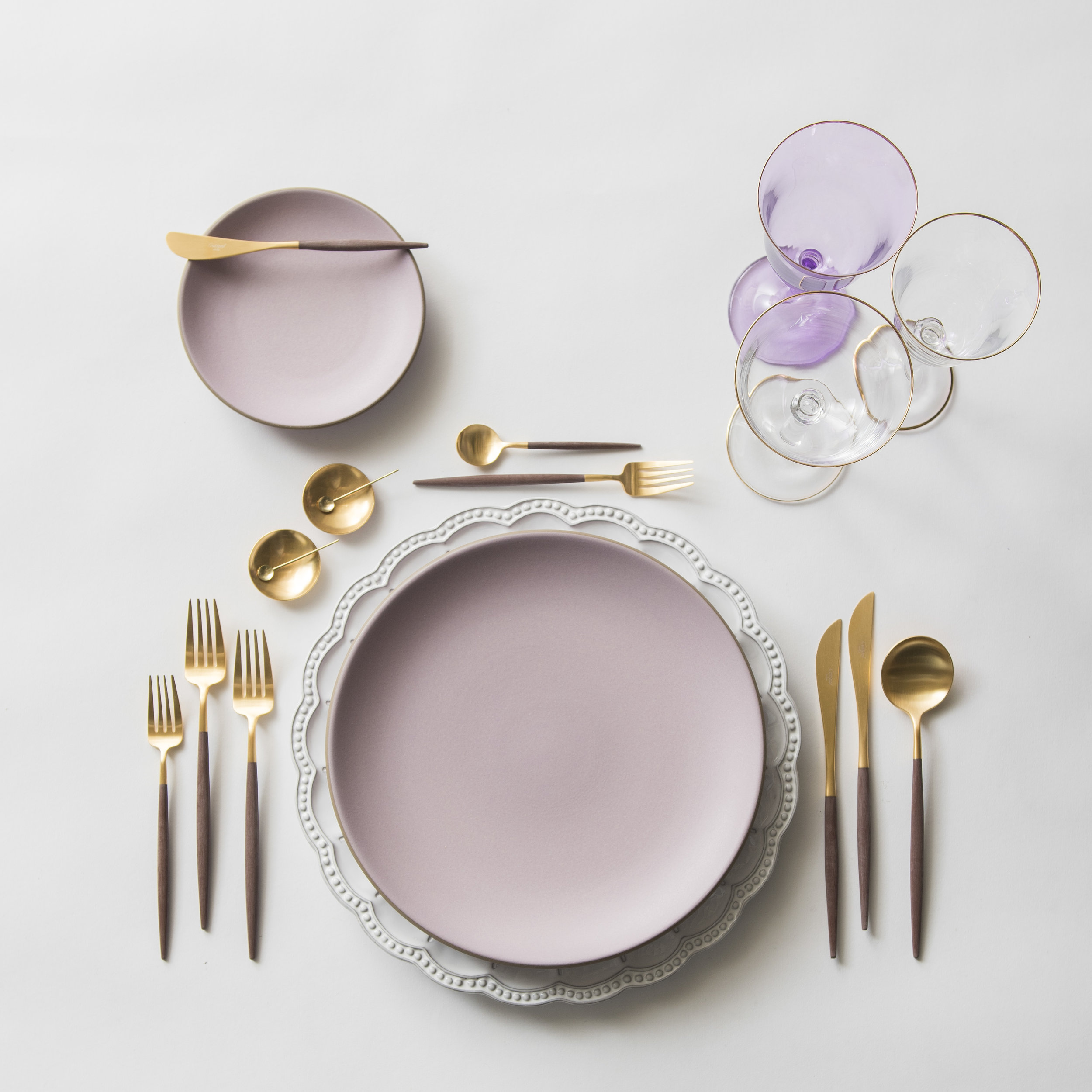 RENT: Signature Collection Chargers + Custom Heath Ceramics in Wildflower + Goa Flatware in Brushed 24k Gold/Wood + Chloe 24k Gold Rimmed Stemware + Chloe 24k Gold Rimmed Goblet in Lilac + 14k Gold Salt Cellars + Tiny Gold Spoons   SHOP: Goa Flatware in Brushed 24k Gold/Wood + Chloe 24k Gold Rimmed Stemware + 14k Gold Salt Cellars + Tiny Gold Spoons
