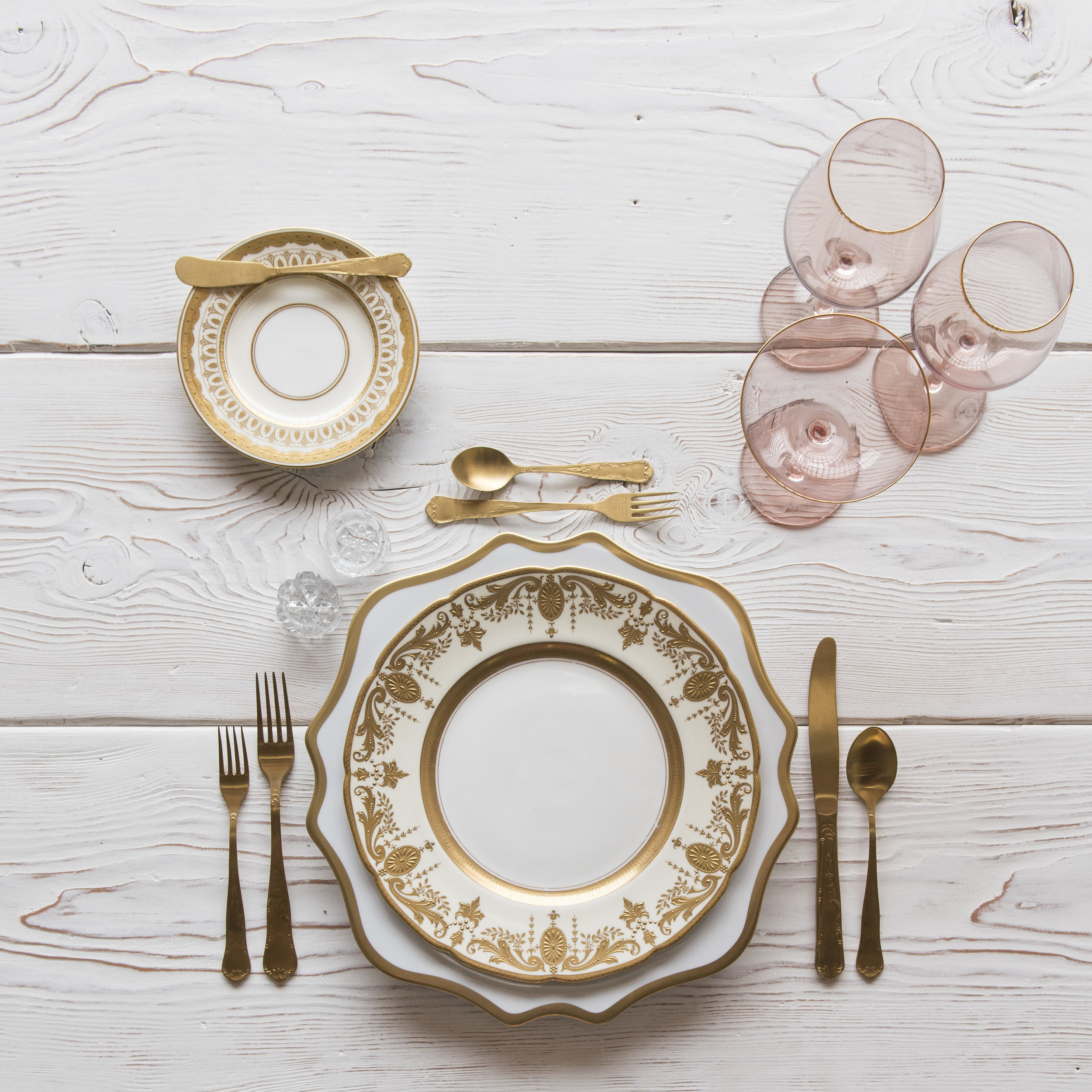 RENT: Anna Weatherley Chargers in White/Gold + Crown Gold Collection Vintage China + Chateau Flatware in Matte Gold + Bella 24k Gold Rimmed Stemware in Blush + Antique Crystal Salt Cellars   SHOP: Anna Weatherley Chargers in White/Gold + Bella 24k Gold Rimmed Stemware in Blush