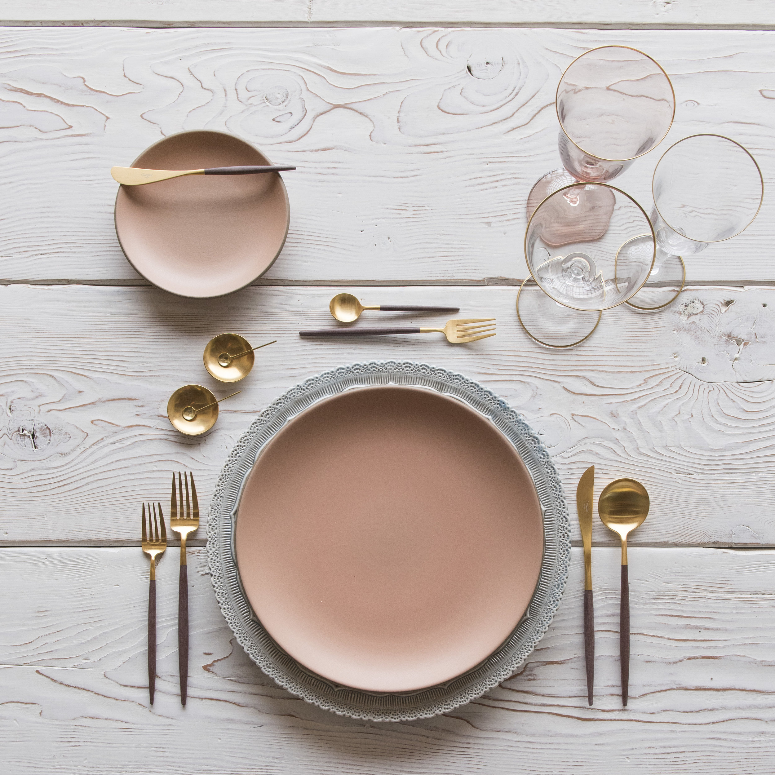 RENT: Lace Chargers in Dusty Blue + Custom Heath Ceramics in Sunrise + Goa Flatware in Brushed 24k Gold/Wood + Chloe 24k Gold Rimmed Stemware + Chloe 24k Gold Rimmed Goblet in Blush + 14k Gold Salt Cellars + Tiny Gold Spoons   SHOP: Goa Flatware in Brushed 24k Gold/Wood + Chloe 24k Gold Rimmed Stemware + 14k Gold Salt Cellars + Tiny Gold Spoons