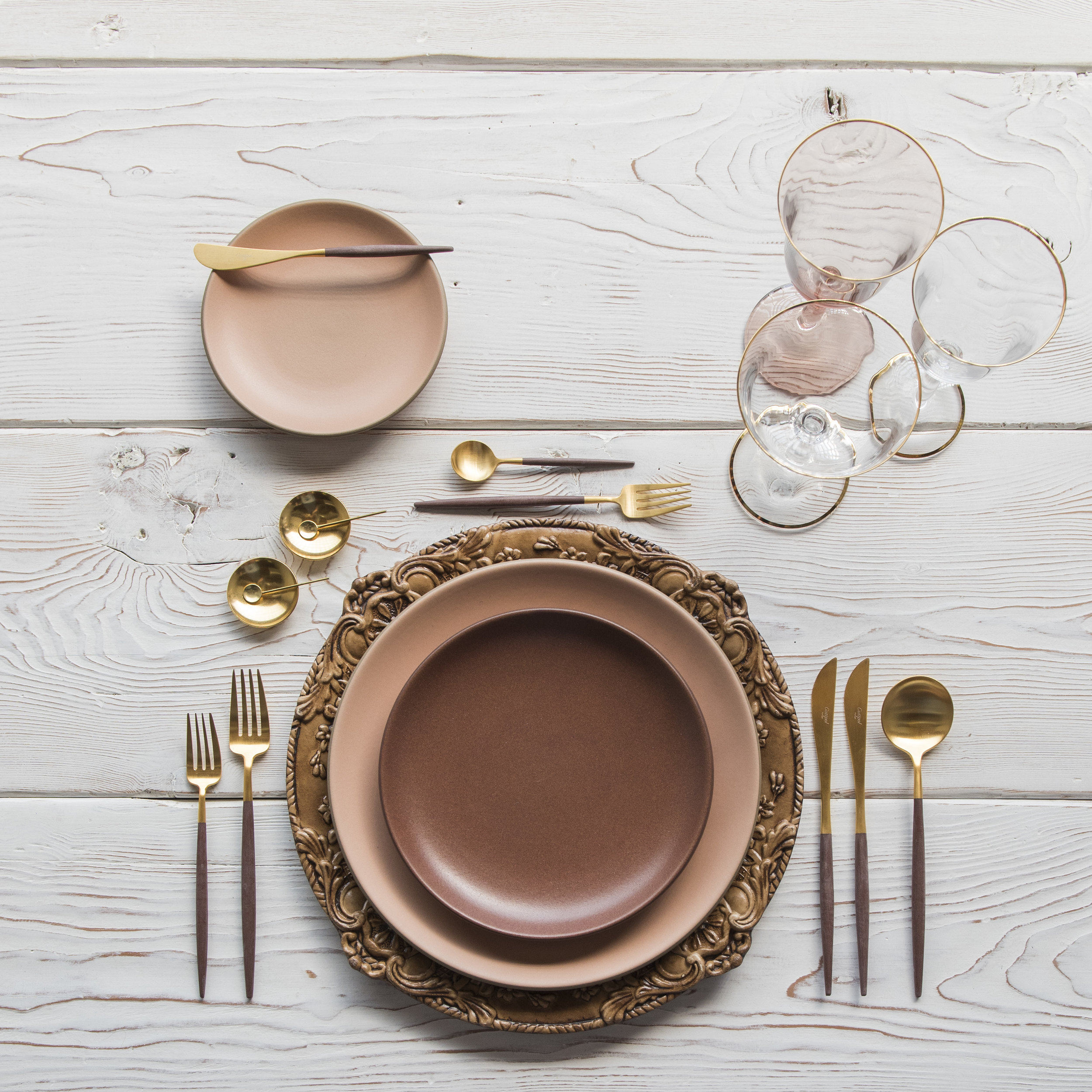 RENT: Verona Chargers in Walnut + Custom Heath Ceramics in Sunrise/Redwood + Goa Flatware in Brushed 24k Gold/Wood + Chloe 24k Gold Rimmed Stemware + Chloe 24k Gold Rimmed Goblet in Blush + 14k Gold Salt Cellars + Tiny Gold Spoons   SHOP: Verona Chargers in Walnut + Goa Flatware in Brushed 24k Gold/Wood + Chloe 24k Gold Rimmed Stemware + 14k Gold Salt Cellars + Tiny Gold Spoons