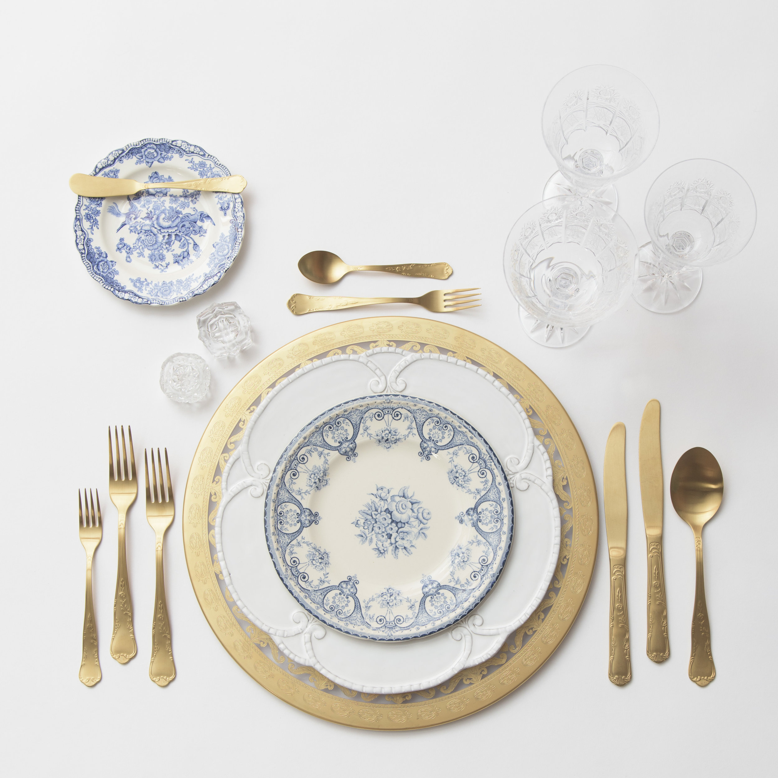 RENT: Versailles Glass Chargers in 24k Gold + Signature Collection Dinnerware + Blue Garden Collection Vintage China + Chateau Flatware in Matte Gold + Czech Crystal Stemware + Antique Crystal Salt Cellars