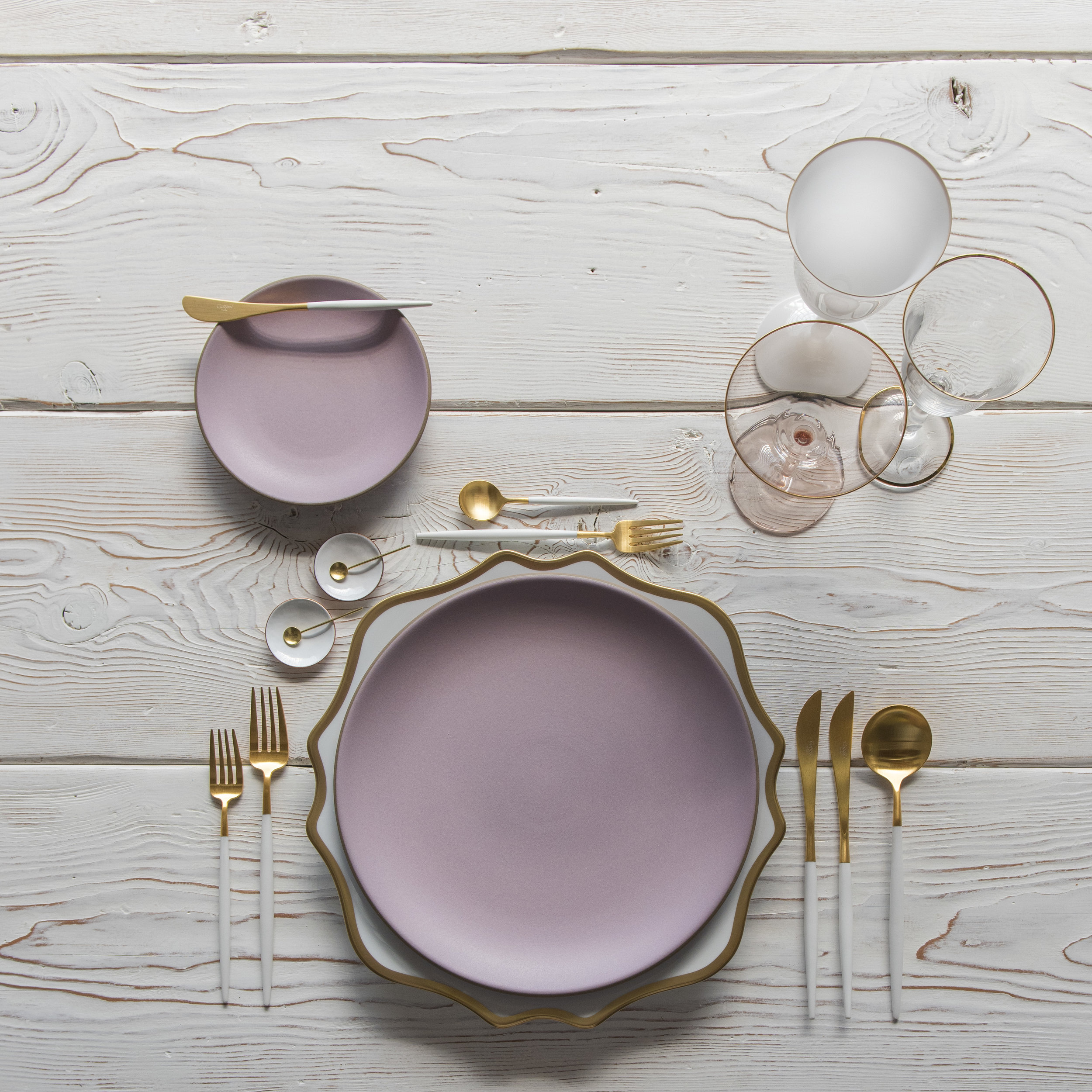 RENT: Anna Weatherley Chargers in White/Gold + Custom Heath Ceramics in Wildflower + Goa Flatware in Brushed 24k Gold/White + Chloe 24k Gold Rimmed Stemware + Chloe 24k Gold Rimmed Goblet in White + Bella 24k Gold Rimmed Stemware in Blush + White Enamel Salt Cellars + Tiny Gold Spoons   SHOP: Anna Weatherley Chargers in White/Gold + Goa Flatware in Brushed 24k Gold/White + Chloe 24k Gold Rimmed Stemware + Bella 24k Gold Rimmed Stemware in Blush + White Enamel Salt Cellars + Tiny Gold Spoons