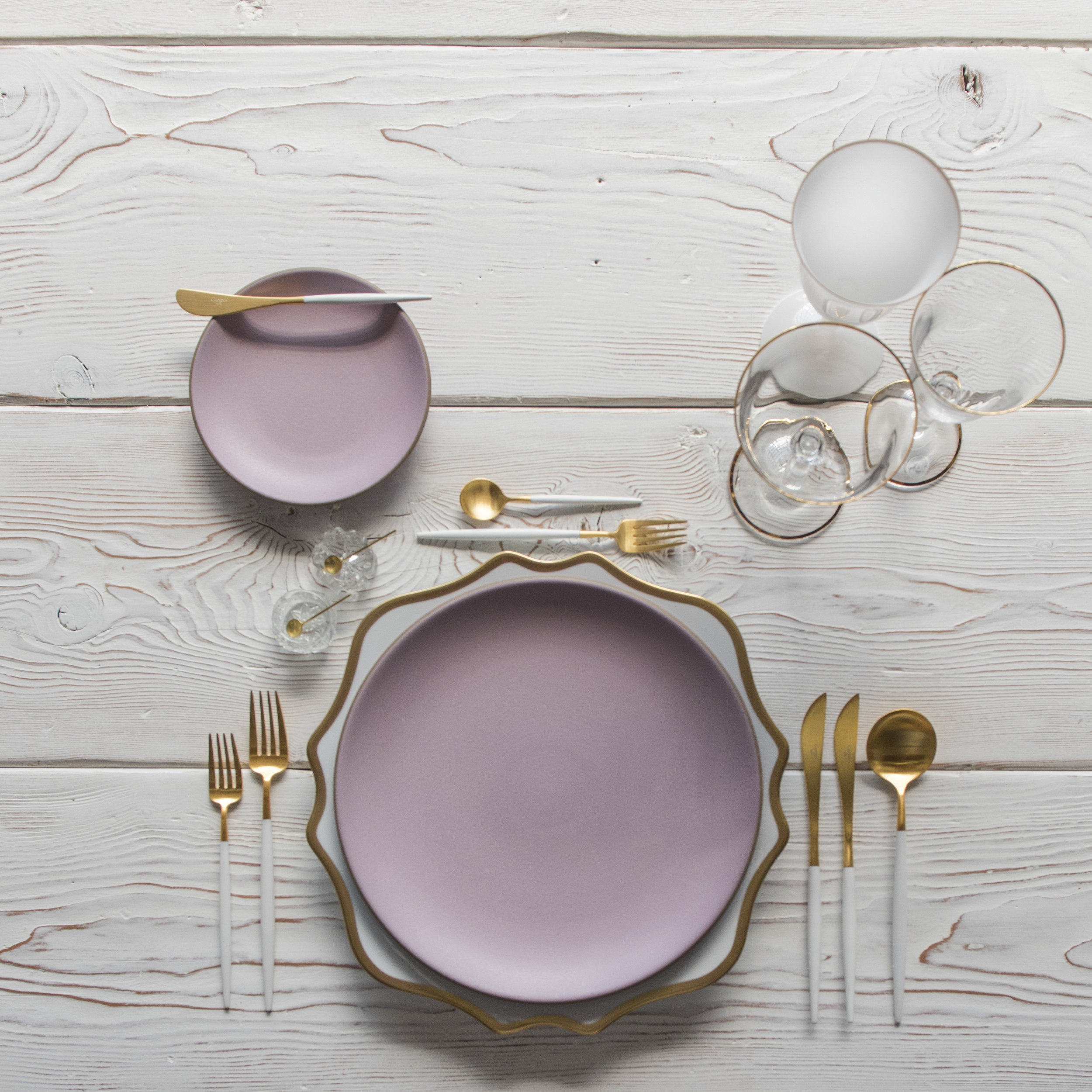 RENT: Anna Weatherley Chargers in White/Gold + Custom Heath Ceramics in Wildflower + Goa Flatware in Brushed 24k Gold/White + Chloe 24k Gold Rimmed Stemware + Chloe 24k Gold Rimmed Goblet in White + Antique Crystal Salt Cellars + Tiny Gold Spoons  SHOP:Anna Weatherley Chargers in White/Gold + Goa Flatware in Brushed 24k Gold/White + Chloe 24k Gold Rimmed Stemware + Tiny Gold Spoons