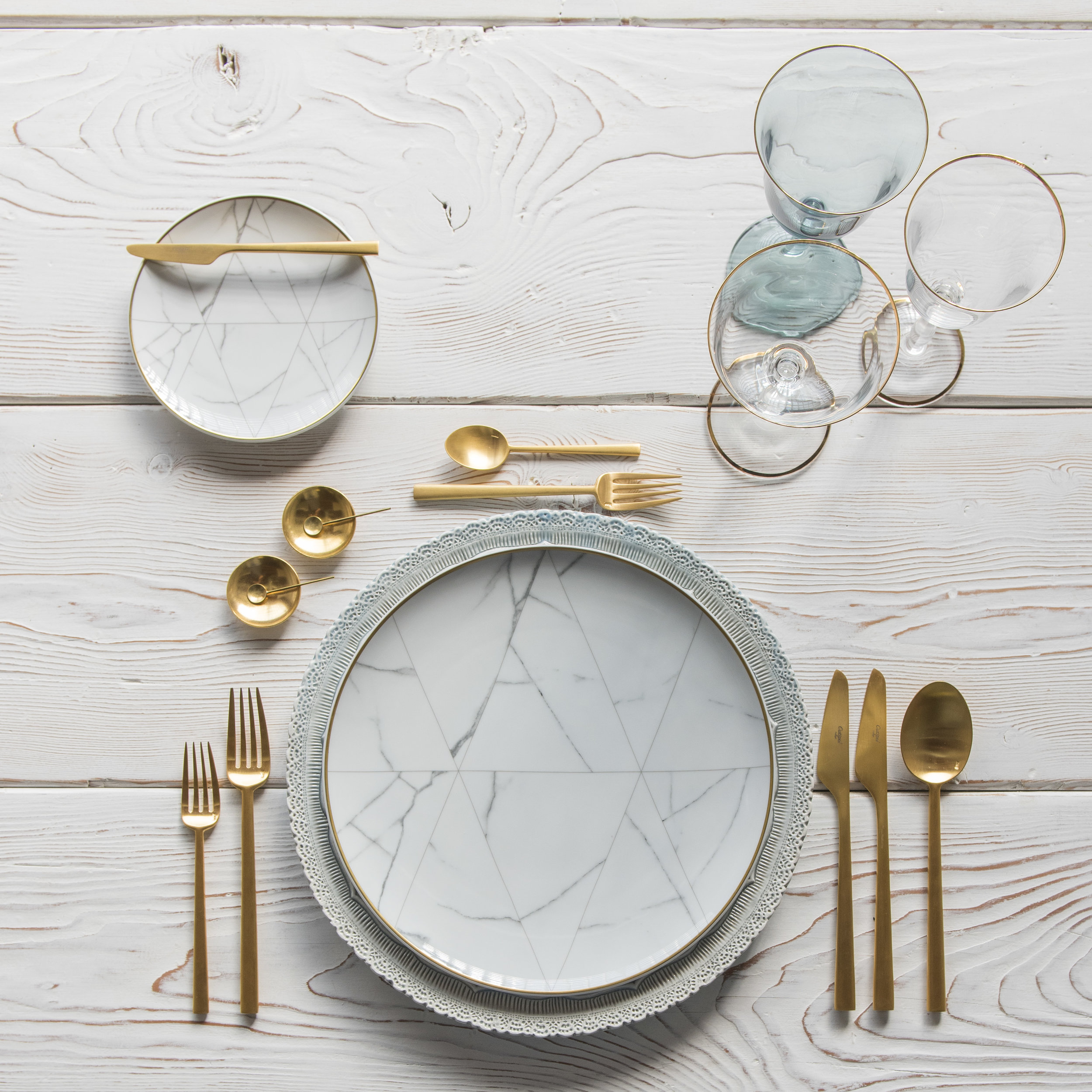 RENT: Lace Chargers in Dusty Blue + Carrara Dinnerware + Rondo Flatware in Brushed 24k Gold + Chloe 24k Gold Rimmed Stemware + Chloe 24k Gold Rimmed Goblet in Agave + 14k Gold Salt Cellars + Tiny Gold Spoons   SHOP: Carrara Dinnerware + Rondo Flatware in Brushed 24k Gold + Chloe 24k Gold Rimmed Stemware + 14k Gold Salt Cellars + Tiny Gold Spoons