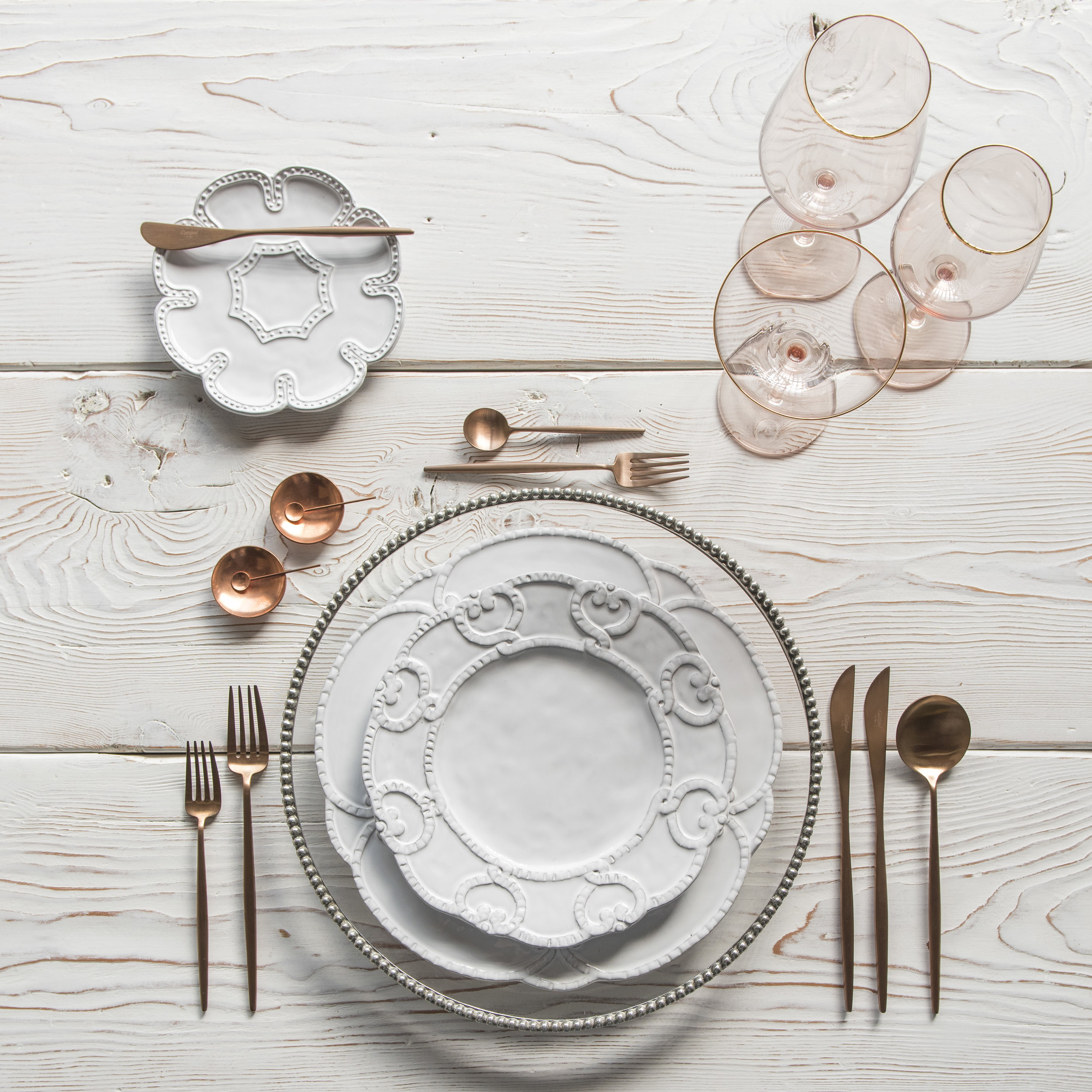 RENT: Pave Glass Chargers in Pewter + Signature Collection Dinnerware + Moon Flatware in Brushed Rose Gold + Bella 24k Gold Rimmed Stemware in Blush + Copper Salt Cellars + Tiny Copper Spoons  SHOP:Moon Flatware in Brushed Rose Gold + Bella 24k Gold Rimmed Stemware in Blush + Copper Salt Cellars + Tiny Copper Spoons