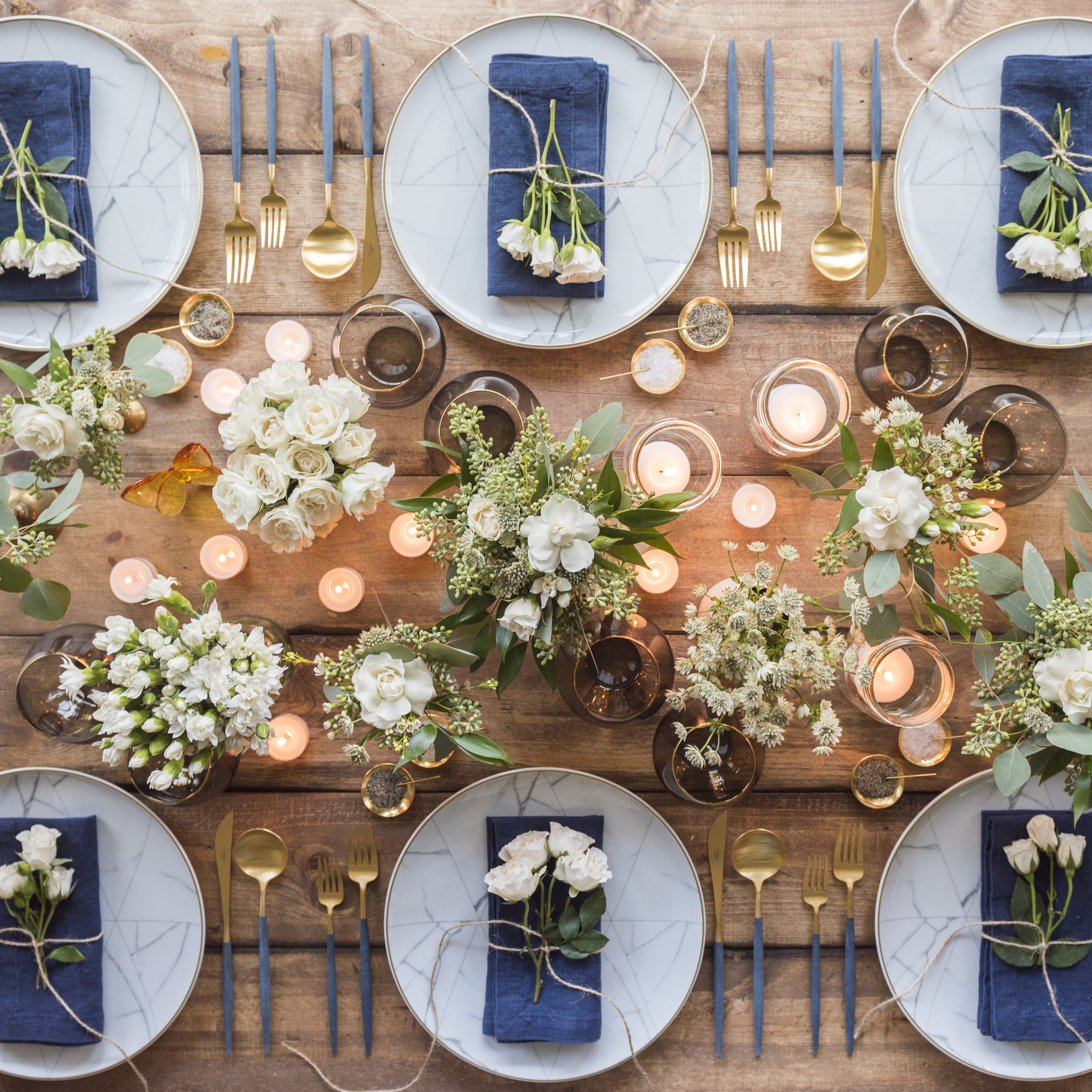 RENT: Carrara Dinnerware + Goa Flatware in Brushed 24k Gold/Blue + Bella 24k Gold Rimmed Stemless Glassware in Smoke + 14k Gold Salt Cellars + Tiny Gold Spoons   SHOP: Carrara Dinnerware + Goa Flatware in Brushed 24k Gold/Blue + Bella 24k Gold Rimmed Stemless Glassware in Smoke + 14k Gold Salt Cellars + Tiny Gold Spoons