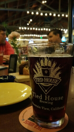 Dark, strong beer is the specialty at Tied House, along with copious pub food