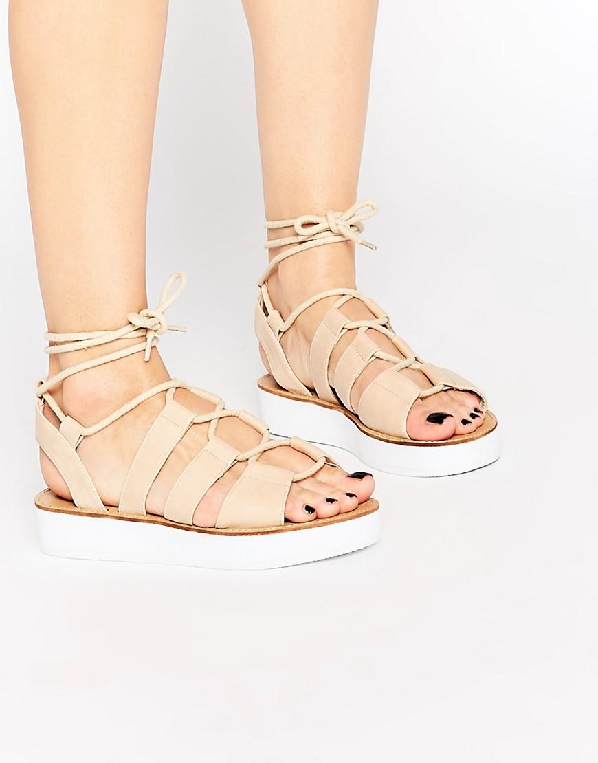 London Rebel Klip Tie Flatform Gladiator Flat Sandals