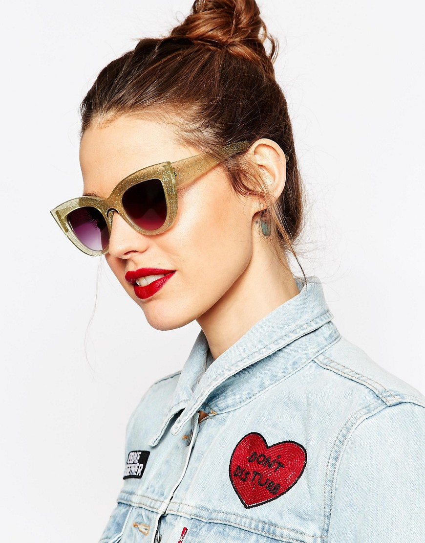 ASOS Flat Top Cat Eye Sunglasses in Glitter