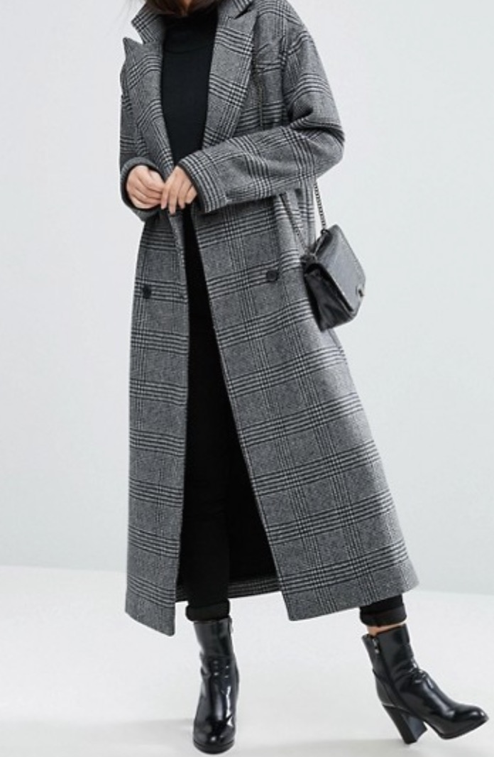 ASOS Boyfriend Coat in Check Print