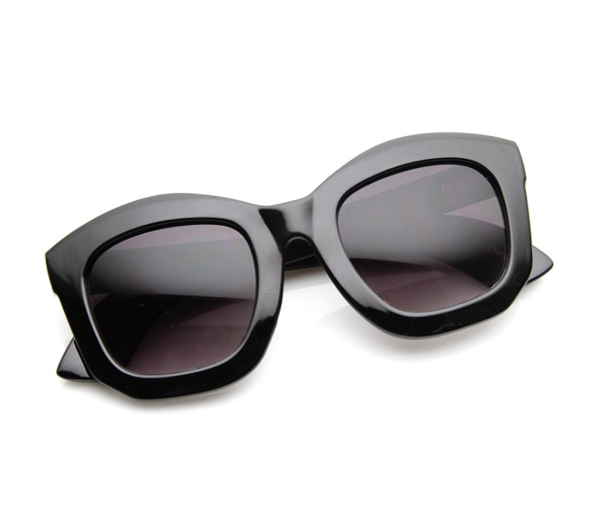 WOMEN'S VALLEY 'ORBIS' 50MM OVERSIZED SUNGLASSES - GLOSS BLACK