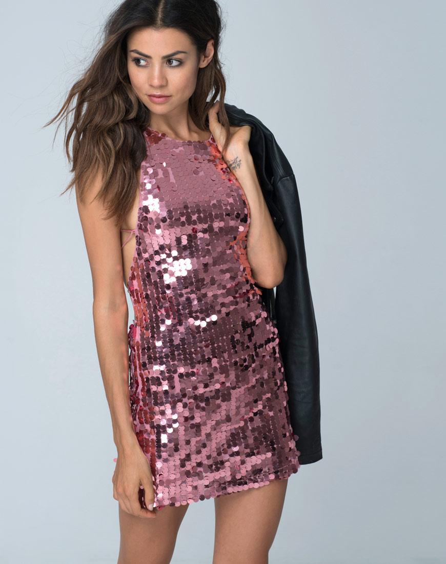 Motel Rocks Backless Rose Sequin Mini Dress