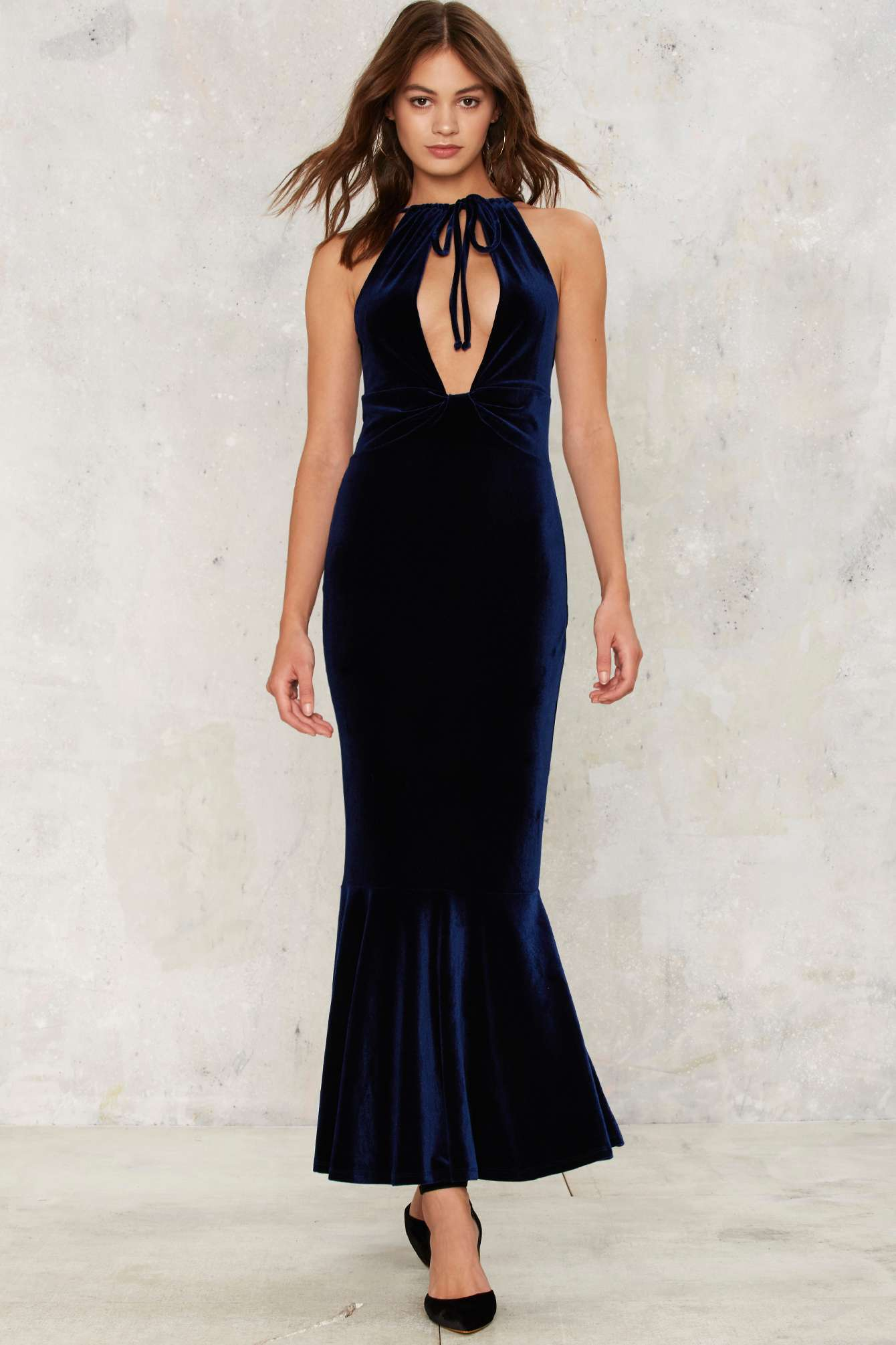 Nasty Gal Bid Adieu Velvet Maxi Dress