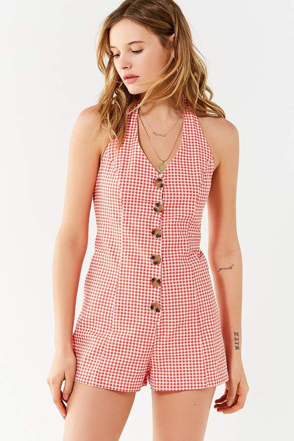 Urban Outfitters Tiffany Button-Down Halter Romper