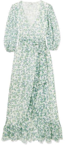 GANNI Tilden Floral Mesh Wrap Dress