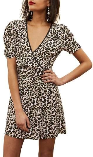 Topshop Leopard Wrap Minidress