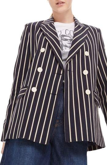 Topshop Stripe Double Breasted Jacket