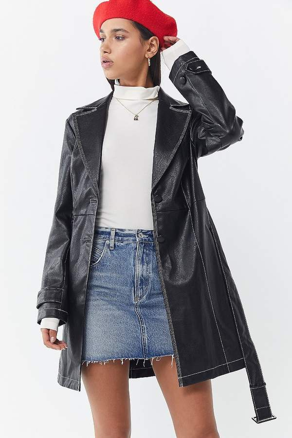Urban Outfitters UO Irina Faux Leather Trench Coat