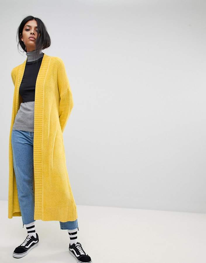 ASOS Cardigan in Maxi Length in Chenille