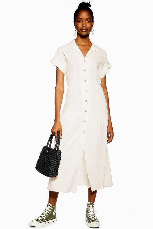 Topshop Shirt Dress with Linen