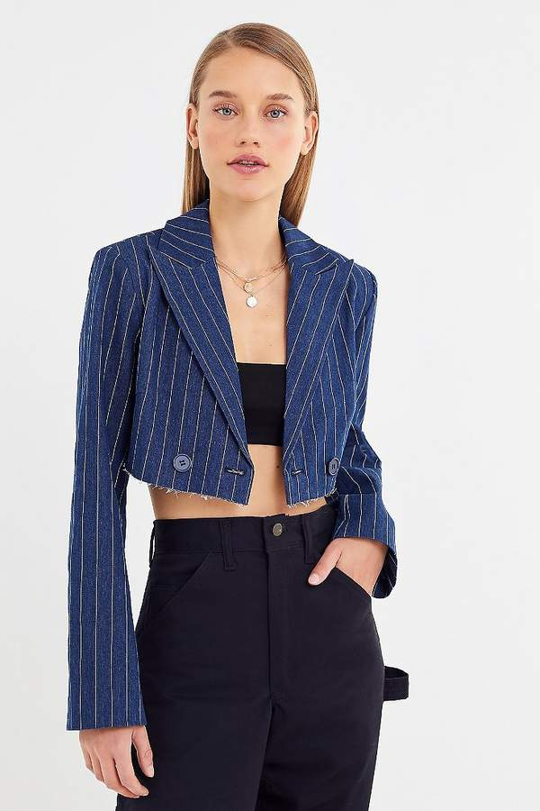 Urban Outfitters Striped Cutoff Cropped Blazer