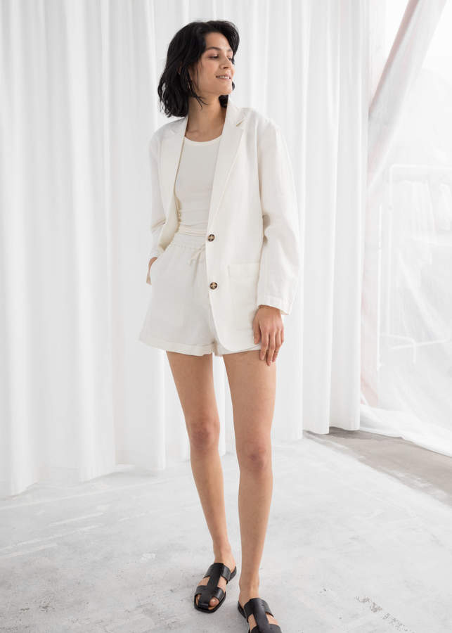 And other stories Oversized Tortoise Button Linen Blend Blazer